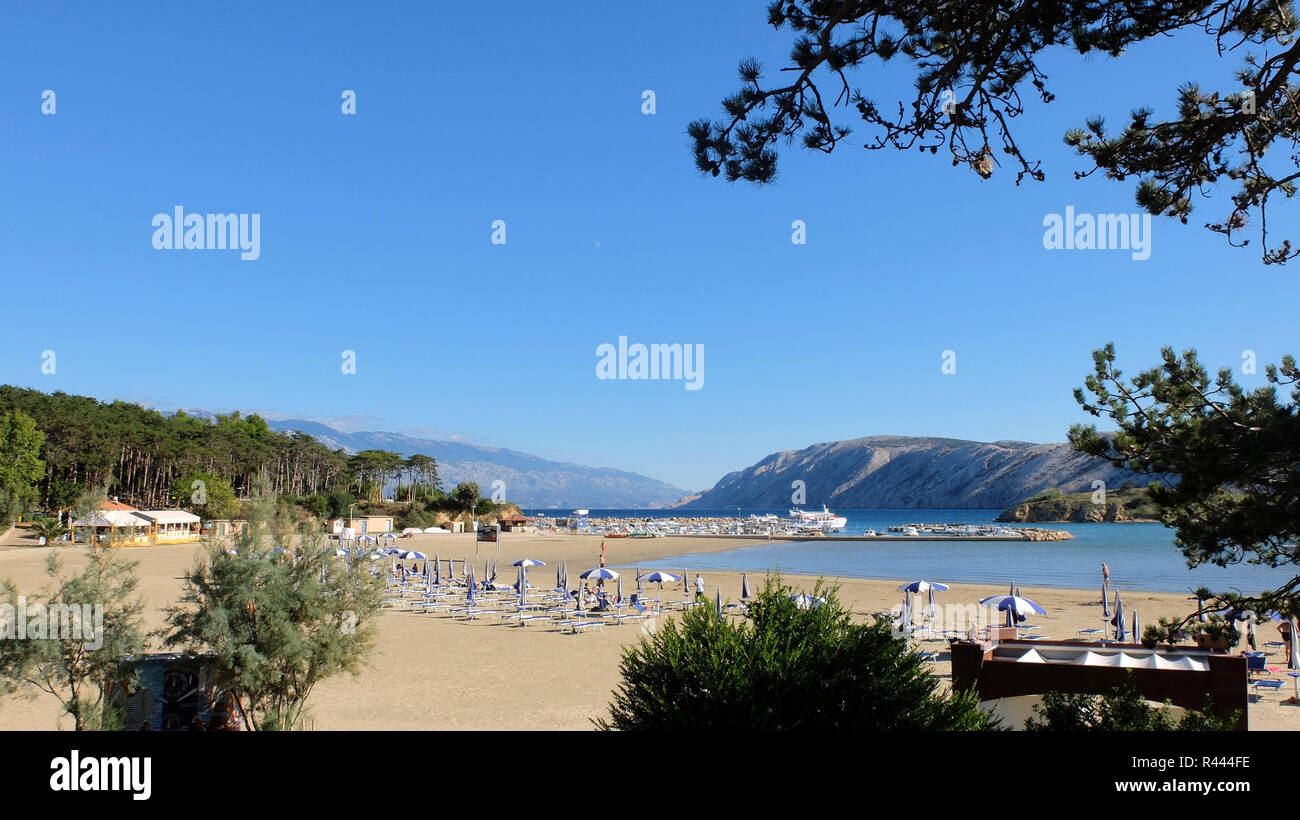 sandy beach at san marino on rab island - Stock Image
