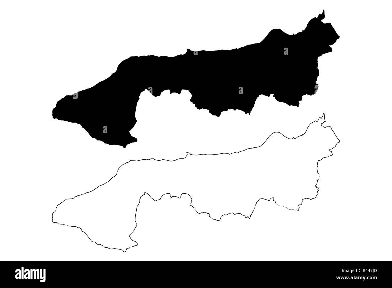 Yalova (Provinces of the Republic of Turkey) map vector illustration, scribble sketch Yalova ili map - Stock Image