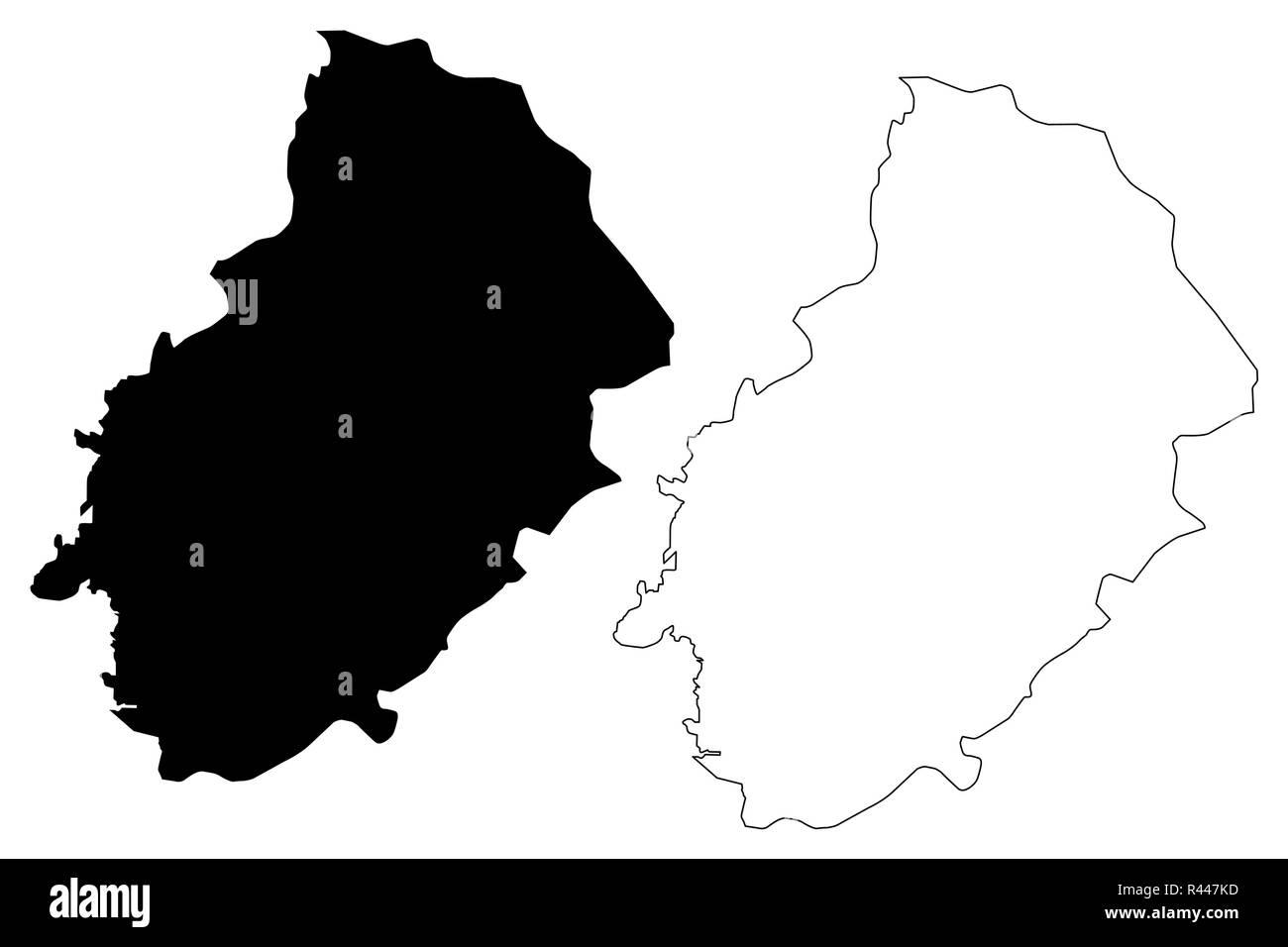 Kirikkale (Provinces of the Republic of Turkey) map vector illustration, scribble sketch Kirikkale ili map - Stock Image