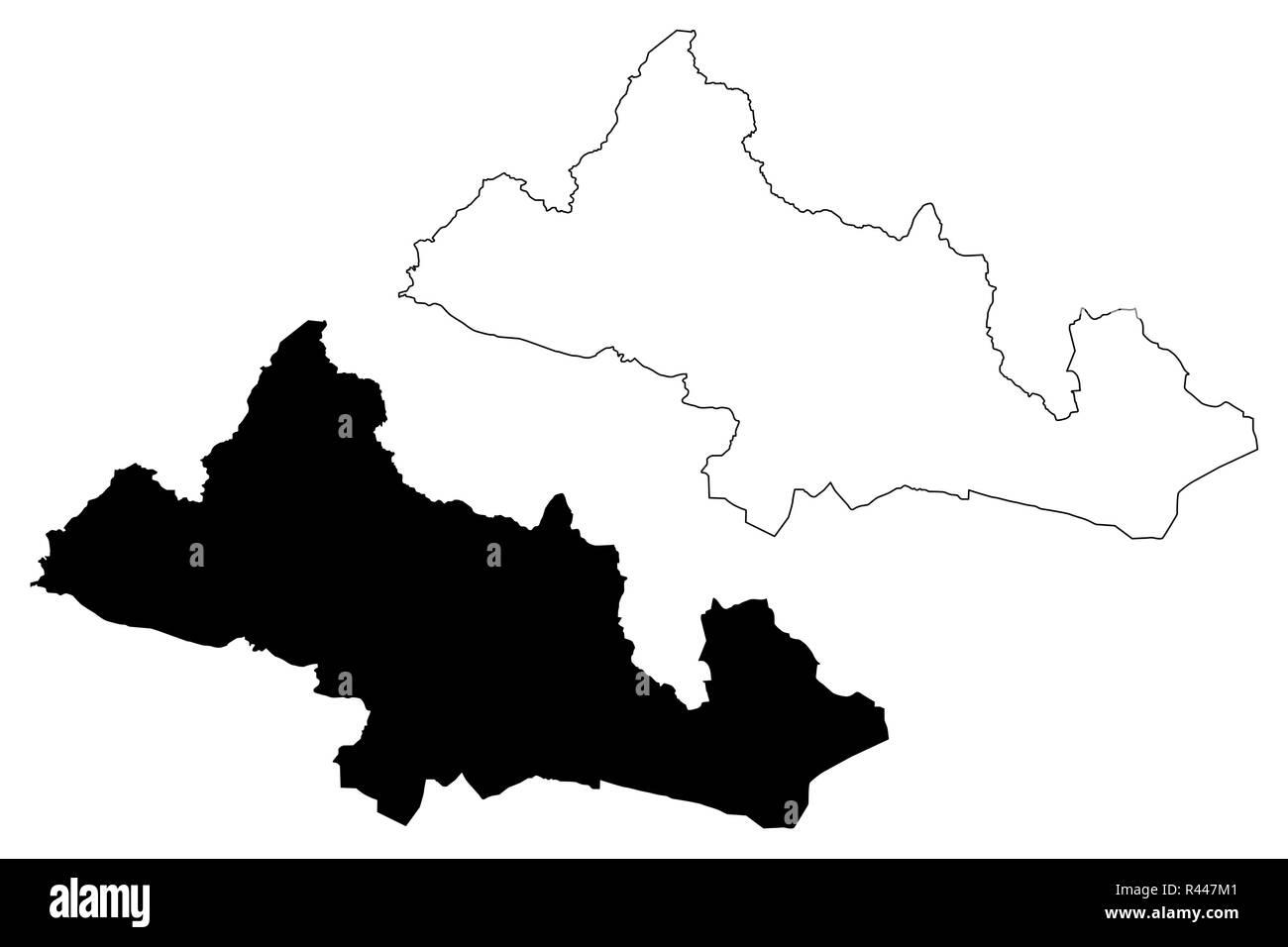 Kilis (Provinces of the Republic of Turkey) map vector illustration, scribble sketch Kilis ili map - Stock Image