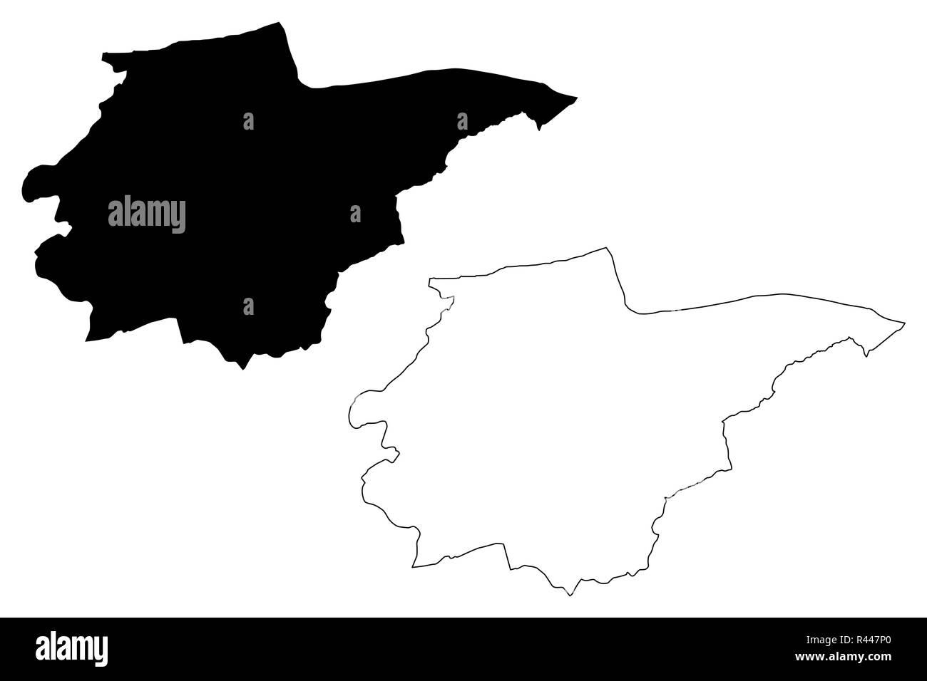 Duzce (Provinces of the Republic of Turkey) map vector illustration, scribble sketch Düzce ili map - Stock Image