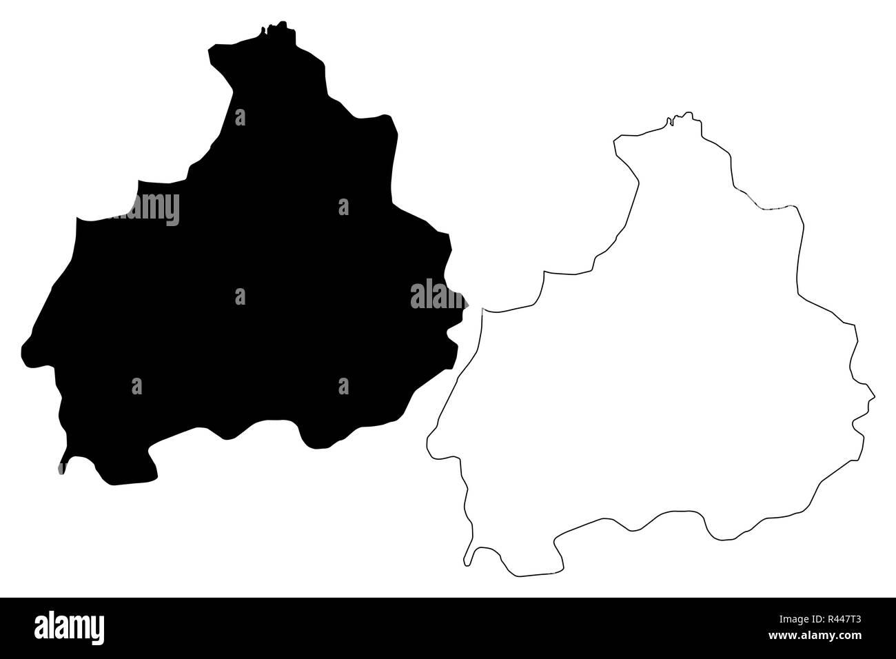 Aksaray (Provinces of the Republic of Turkey) map vector illustration, scribble sketch Aksaray ili map - Stock Image