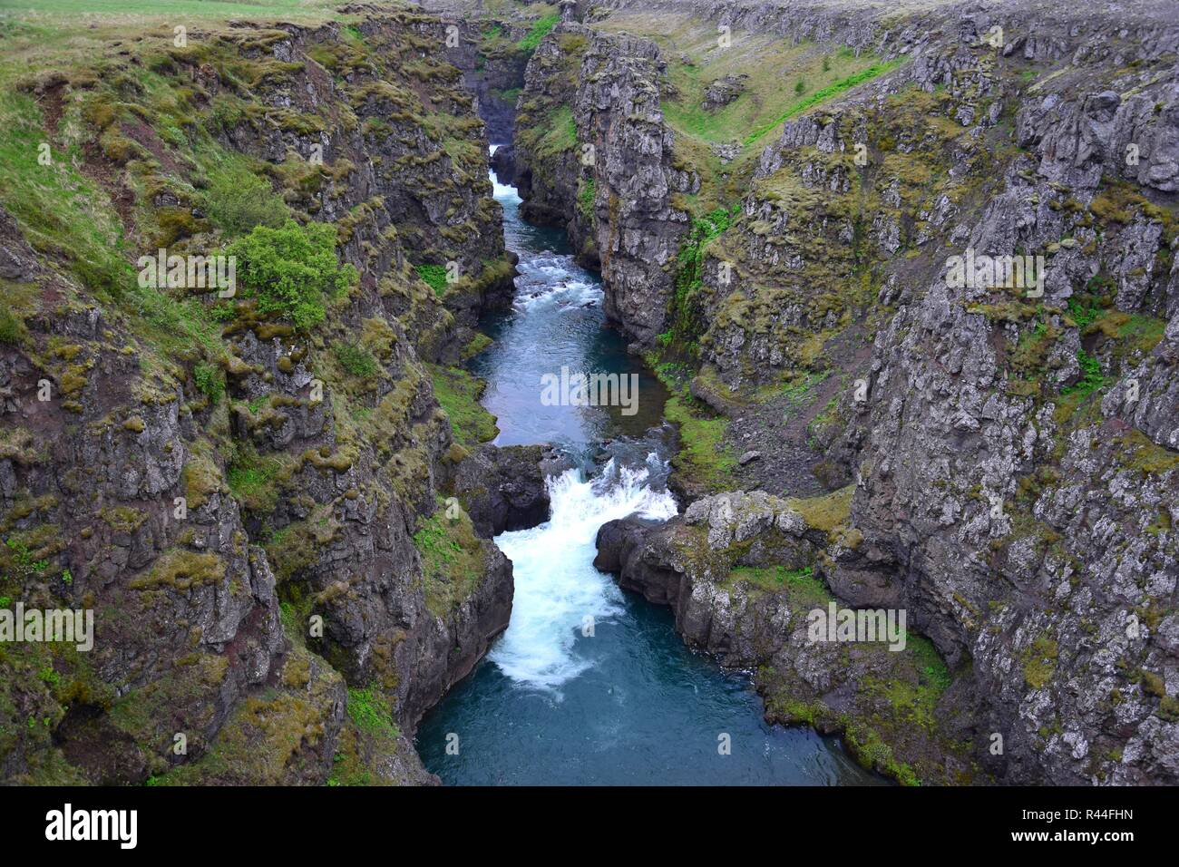 The Kolugljufur canyon in the northwest of Iceland, which was dug by the female troll Kola according to the legend. - Stock Image