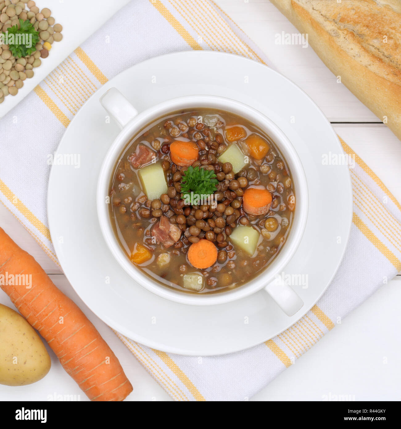 linsensuppe lentils soup in soup from above healthy eating Stock Photo