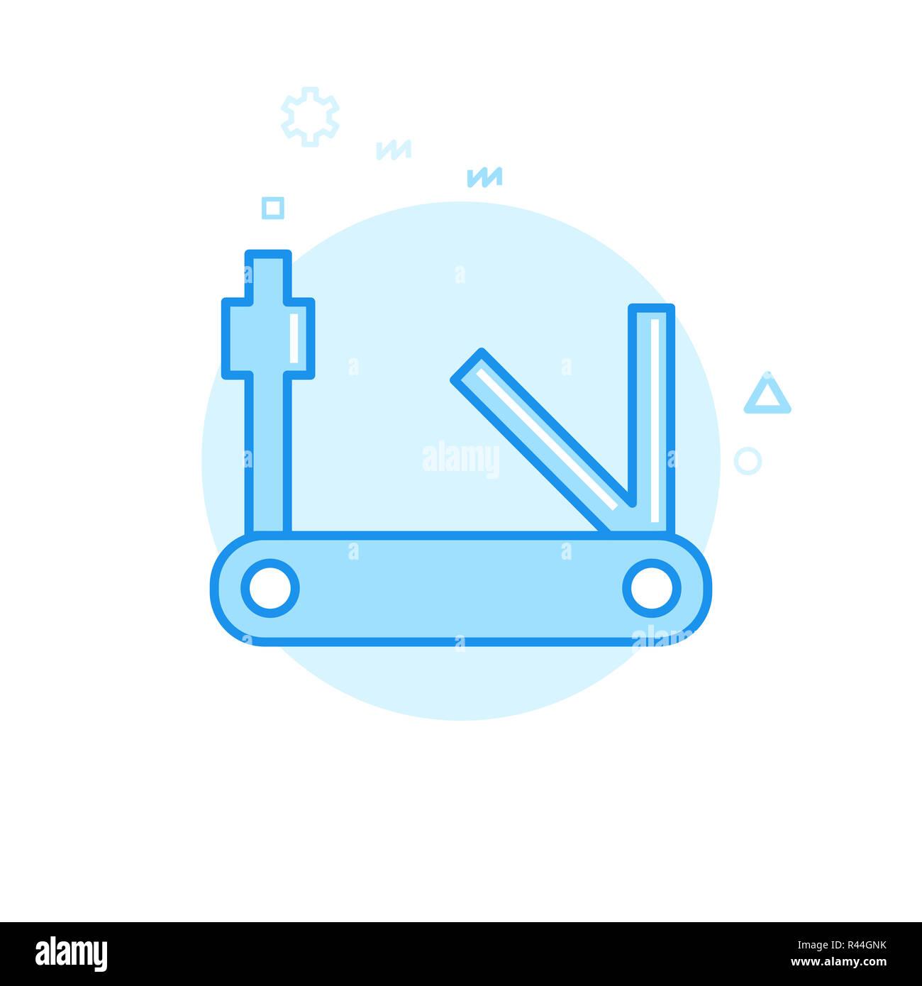 Bike Tools, Multitool Flat Icon. Bicycle Accessory Symbol, Pictogram, Sign. Light Flat Style. Blue Monochrome Design. Editable Stroke. Adjust Line Wei - Stock Image