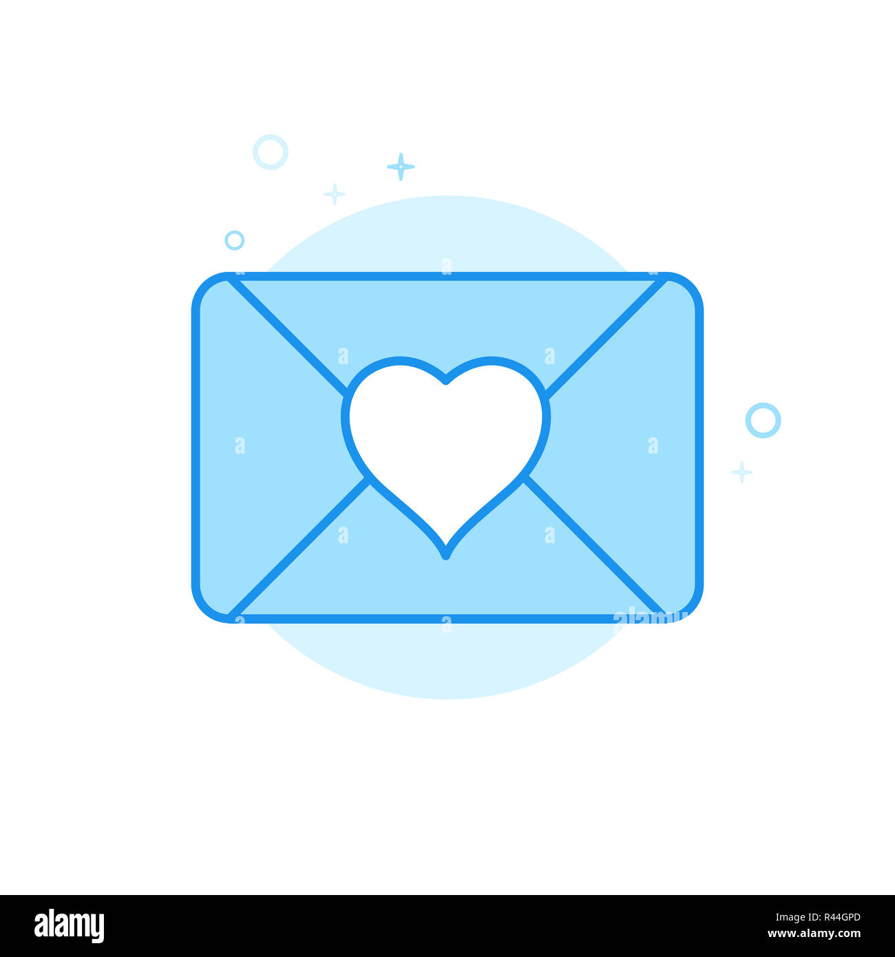 love letter flat icon wedding invitation symbol pictogram sign light flat style blue monochrome design editable stroke adjust line weight desi