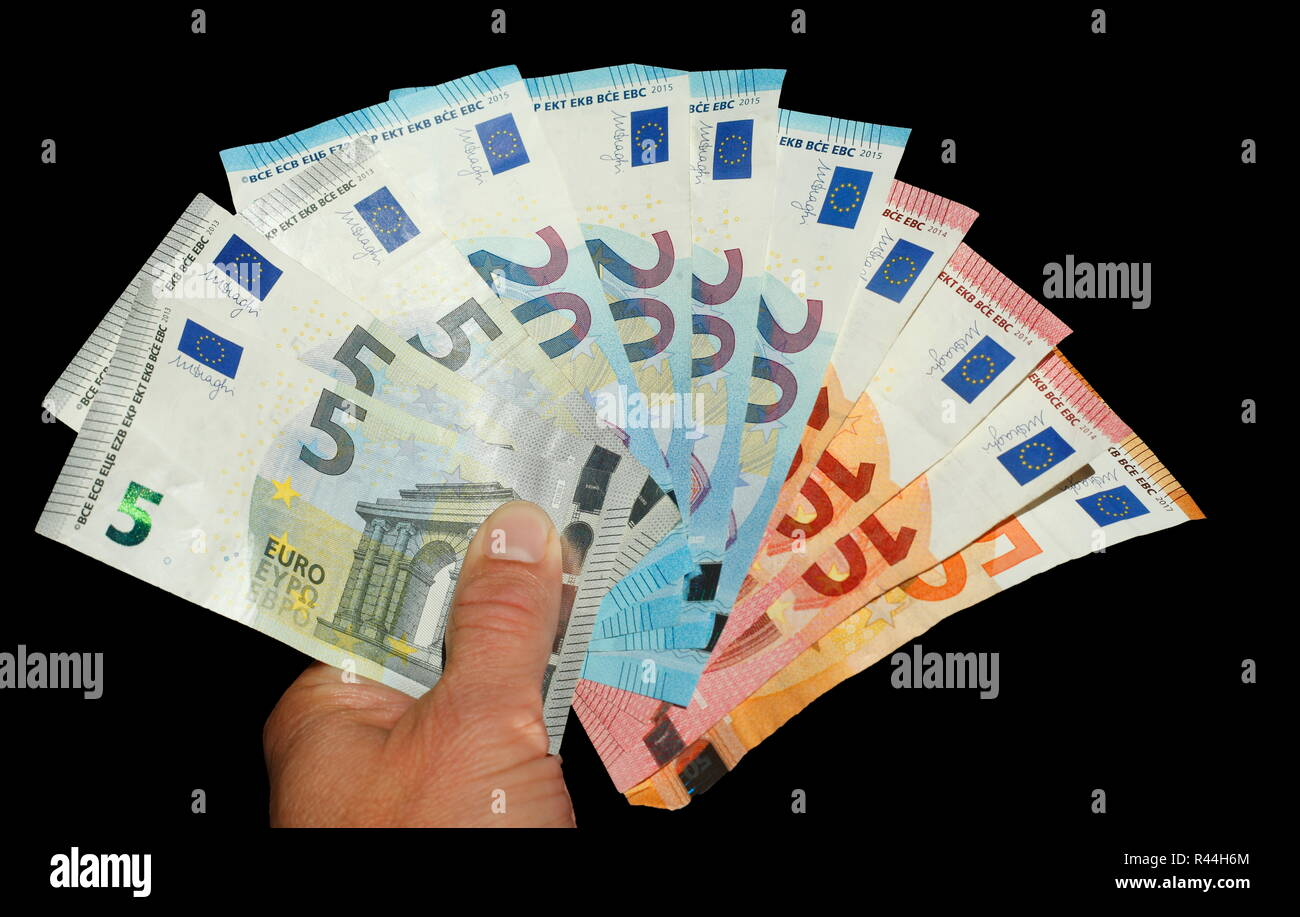 Euro banknotes, hand holds money drawers, cut out, Germany, Europe Stock Photo