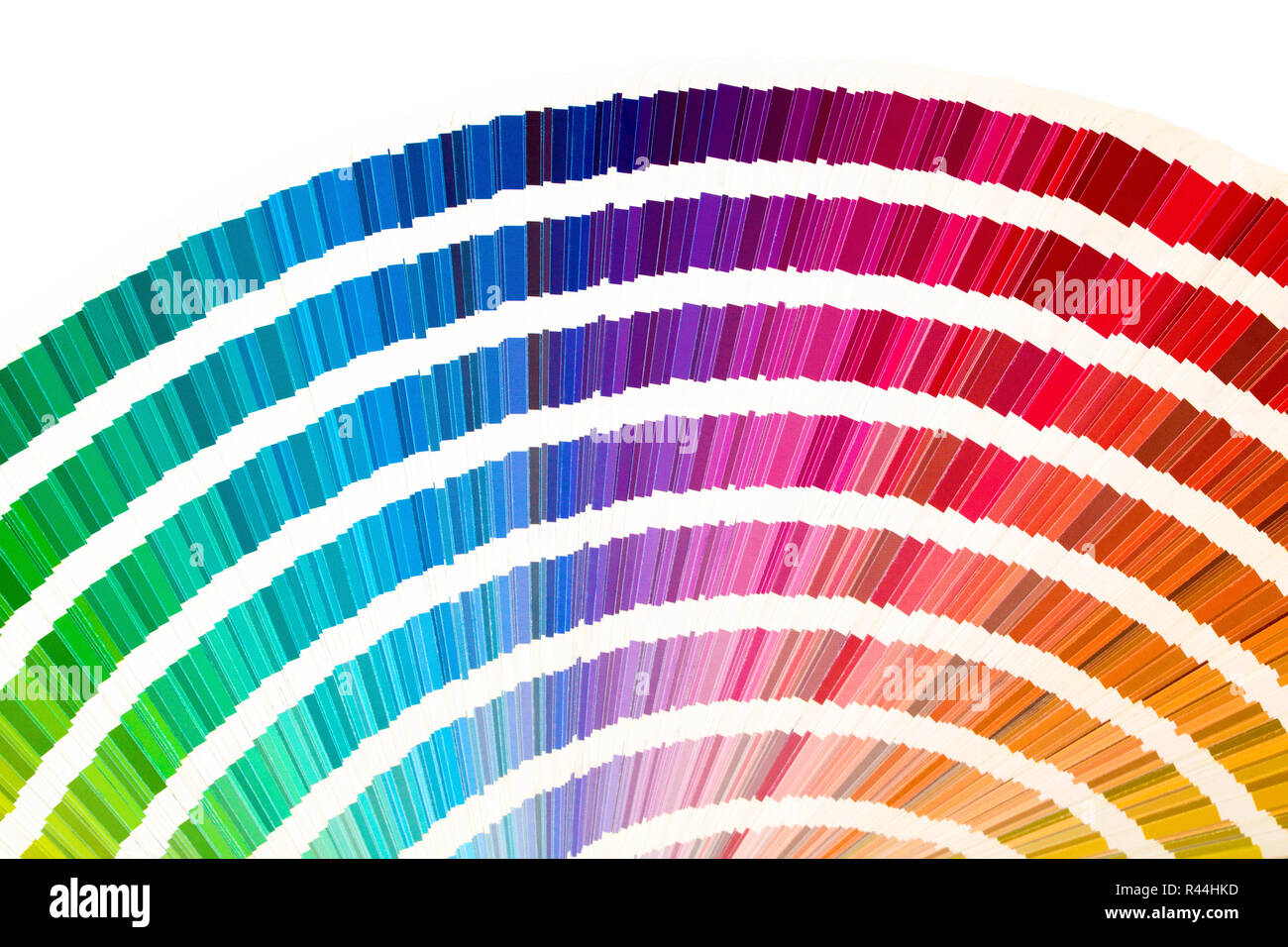 Rainbow sample colors catalogue in many shades of colors or spectrum isolated on white background. Color chart, sampler, palette. - Stock Image