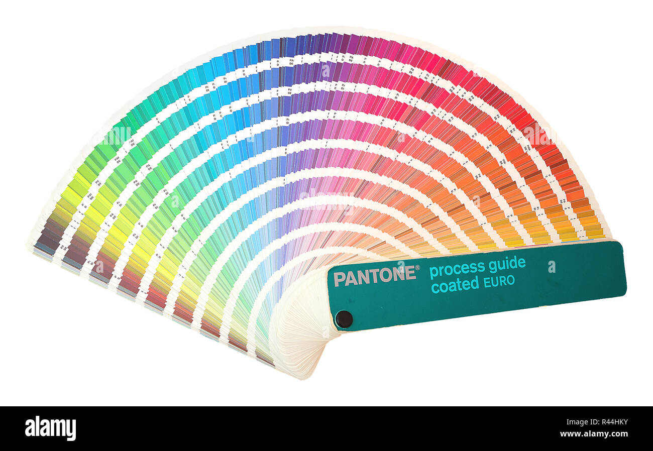 Pantone process guide coated EURO. Rainbow sample colors catalogue in many shades of colors or spectrum isolated on white background. Color chart with - Stock Image