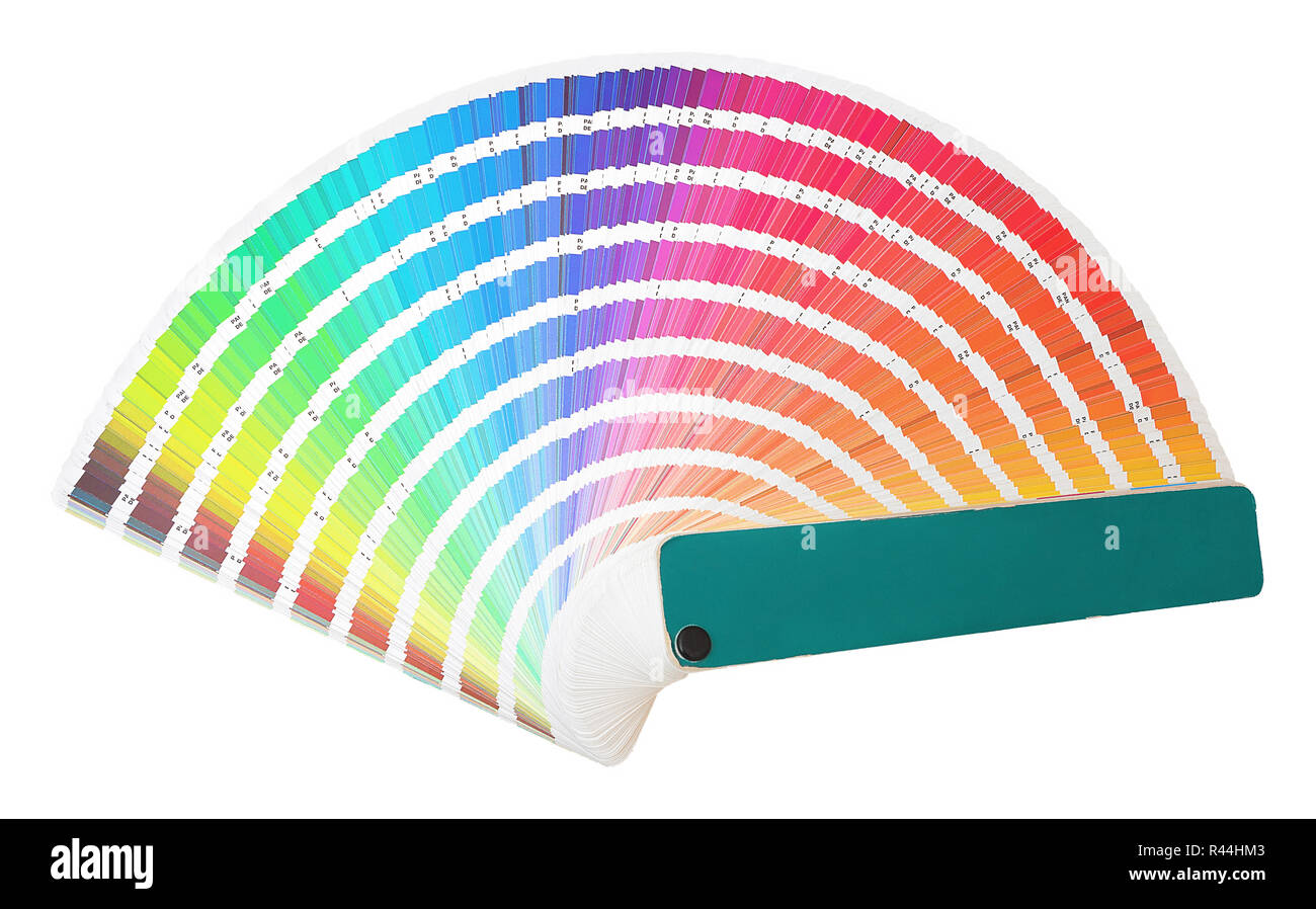 Rainbow sample colors catalogue in many shades of colors or spectrum isolated on white background. Color chart with color code detail information. Col - Stock Image