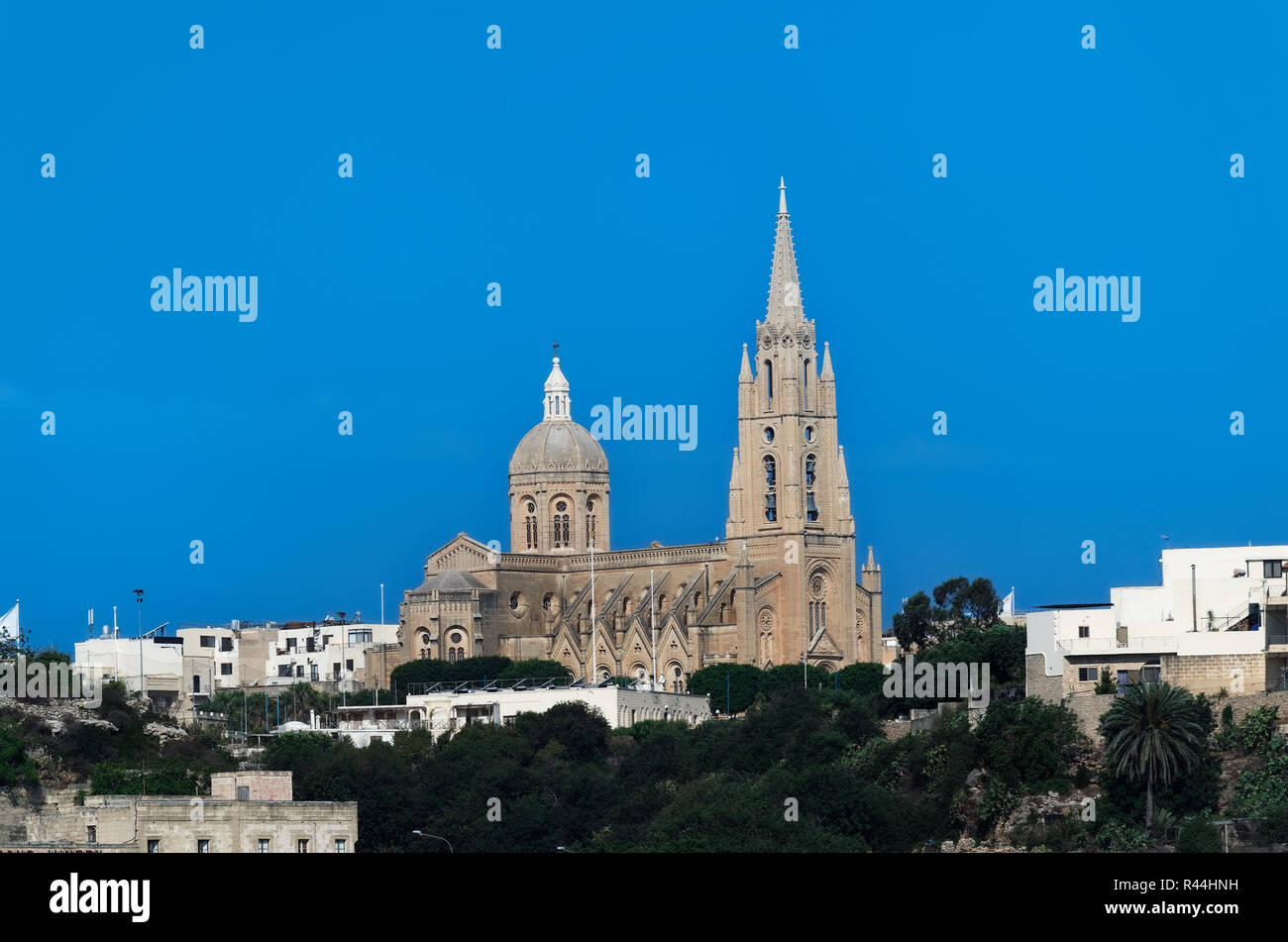 Parish Church of Our Lady of Loreto (Ghajnsielem), Mgarr. Maltese island of Gozo - Stock Image