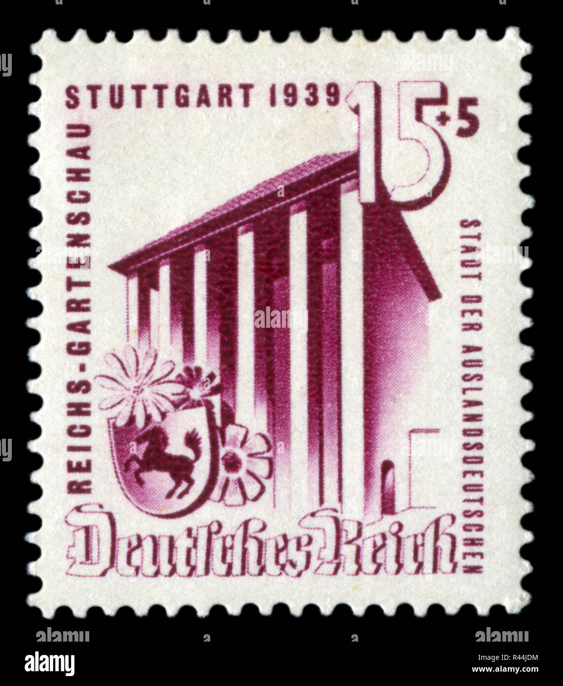 German historical stamp: Exhibition of horticulture in Stuttgart, 1939. Exhibition pavilion and coat of arms of Stuttgart. Germany, the Third Reich. - Stock Image