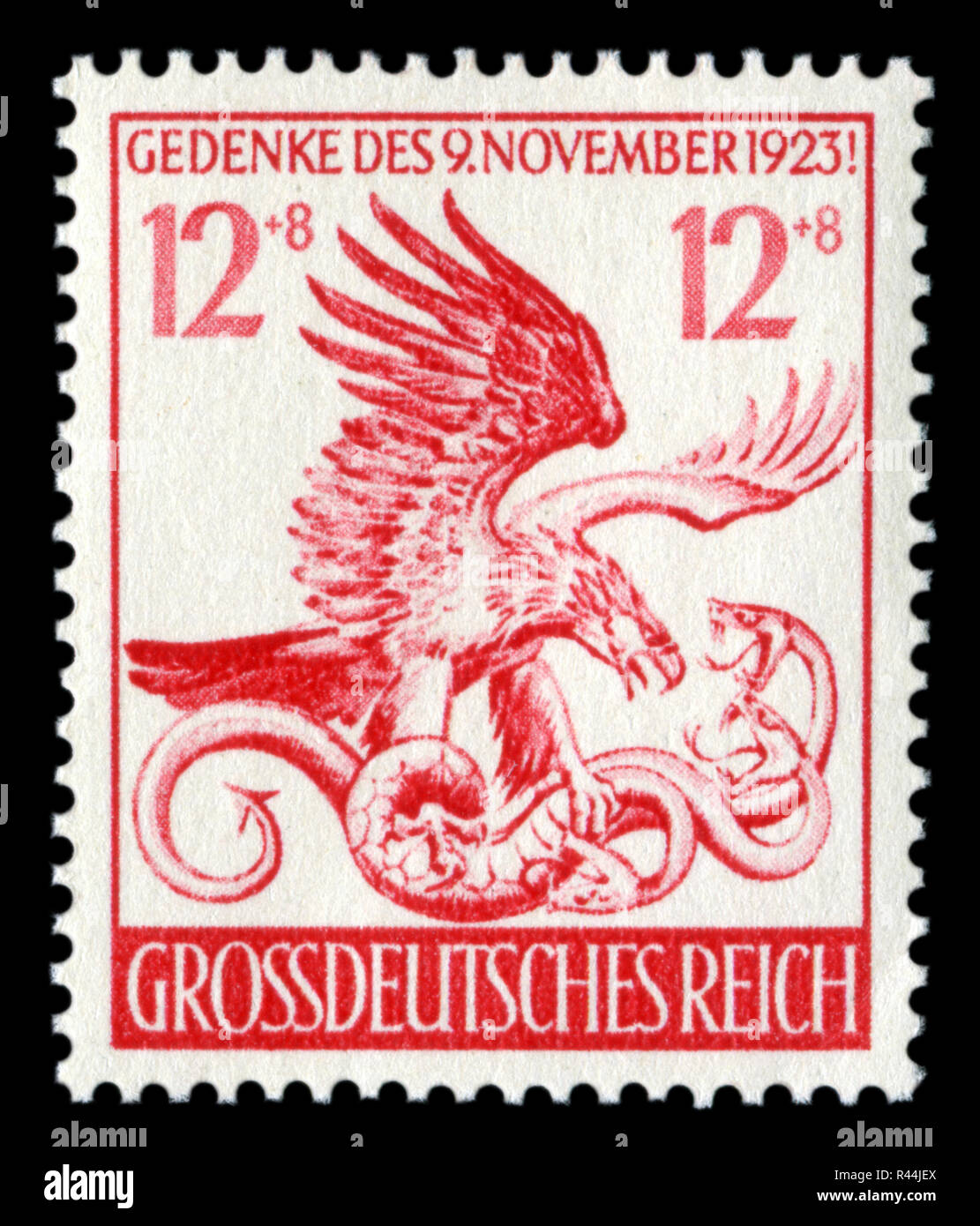 German historical stamp: 21st anniversary of 'The beer putsch'. The eagle that defeated the three-headed serpent. 1944, Germany, the Third Reich. - Stock Image
