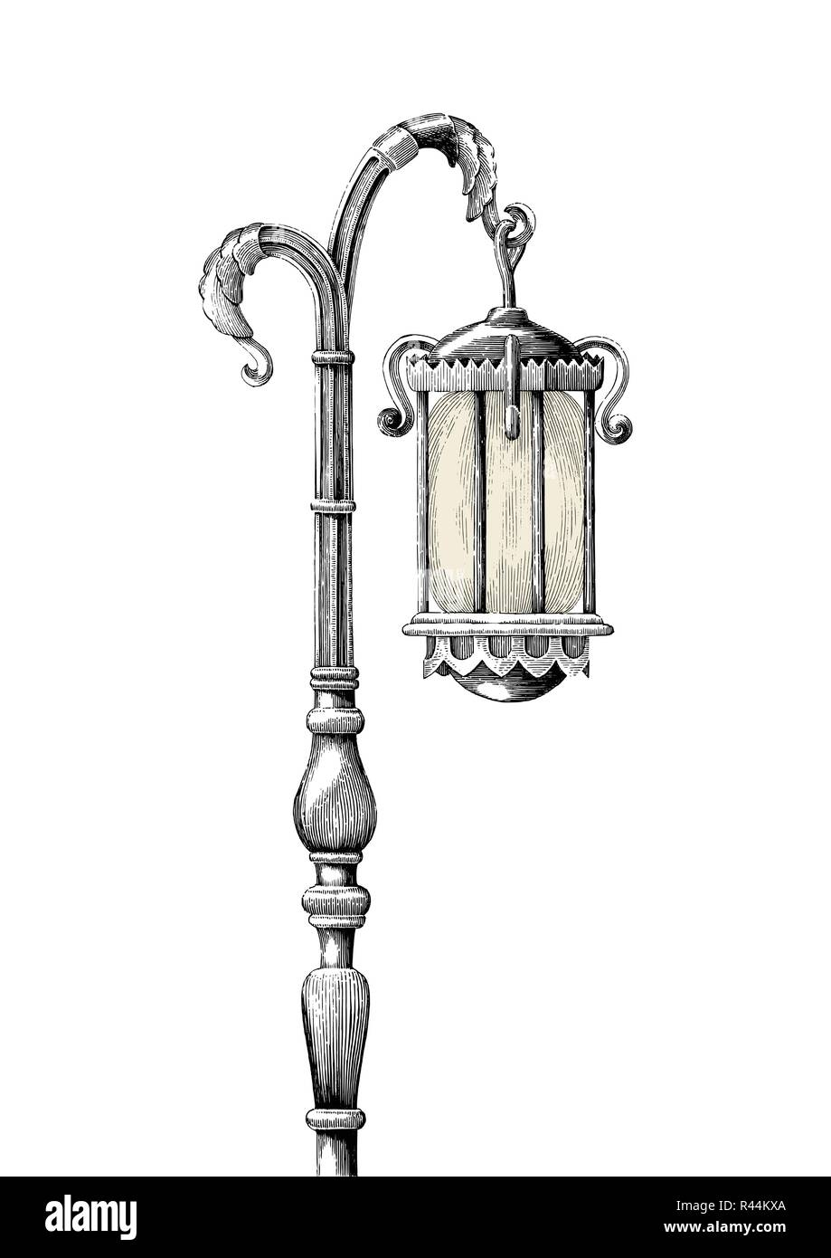 Vintage lamp post hand drawing engraving illustration on white background Stock Vector