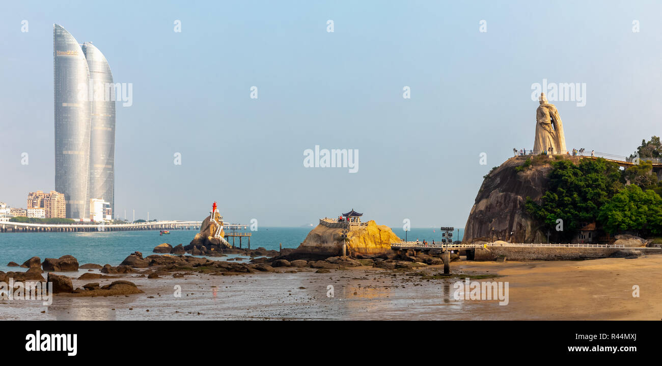 View of the skyline of Xiamen as seen from Gulangyu Island, Xiamen, also known as Amoy, Fujian province, China - Stock Image