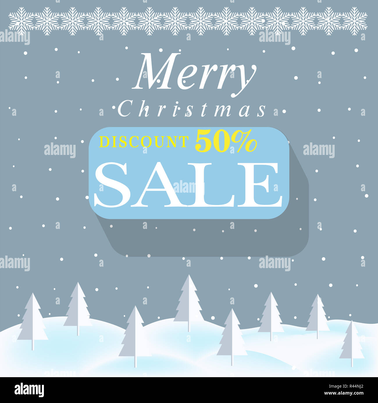 winter sale and discount poster design template or background