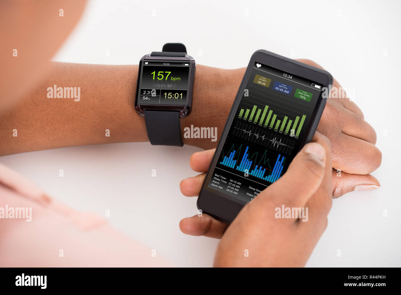 Hand With Mobile And Smartwatch Showing Heartbeat Rate - Stock Image