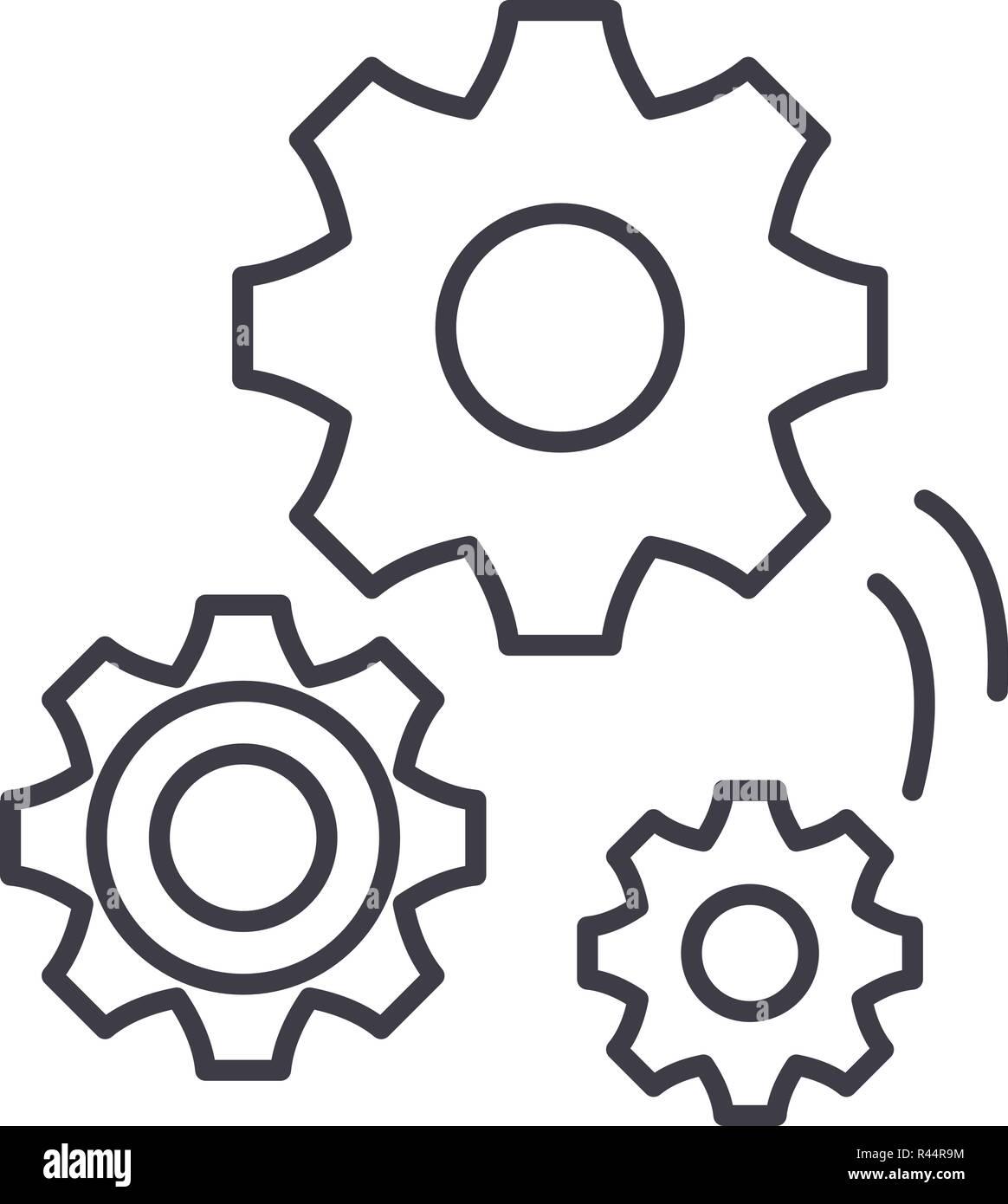 Mechanical Engineering Line Icon Concept Mechanical Engineering