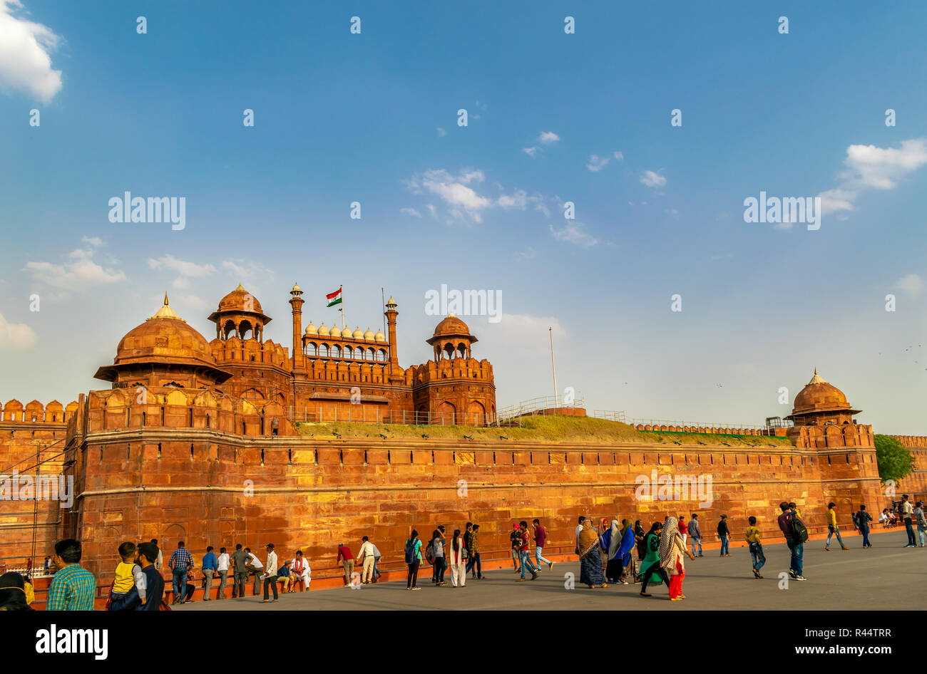 Red Fort with the Indian flag - a front view - Stock Image