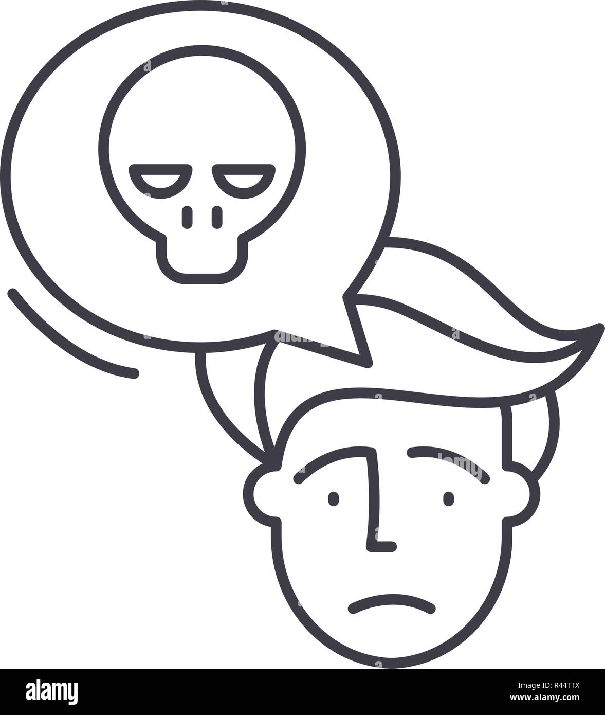 Panic Line Icon Concept Panic Vector Linear Illustration Symbol