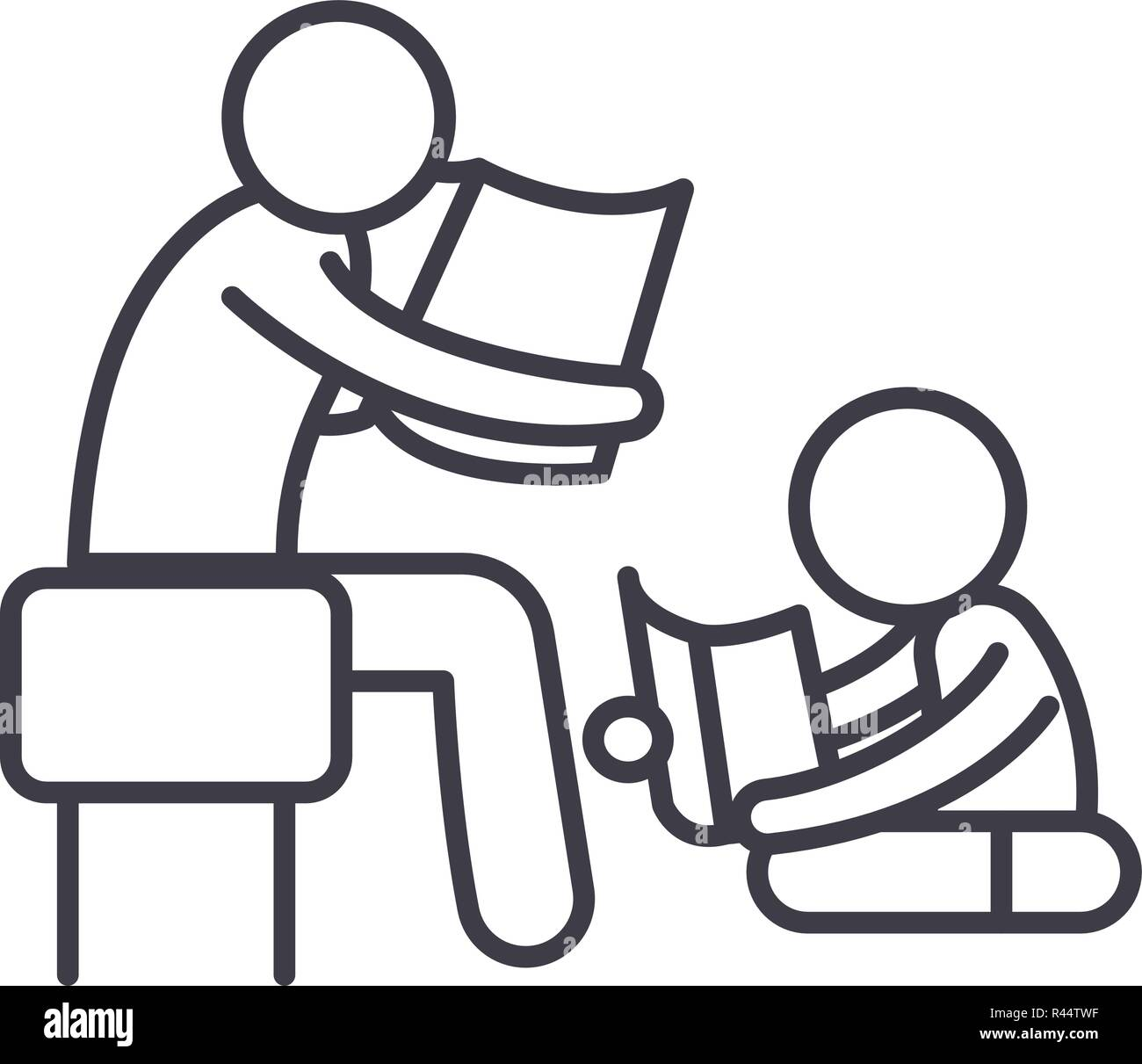 Parent reading a story to a child line icon concept. Parent reading a story to a child vector linear illustration, symbol, sign - Stock Image