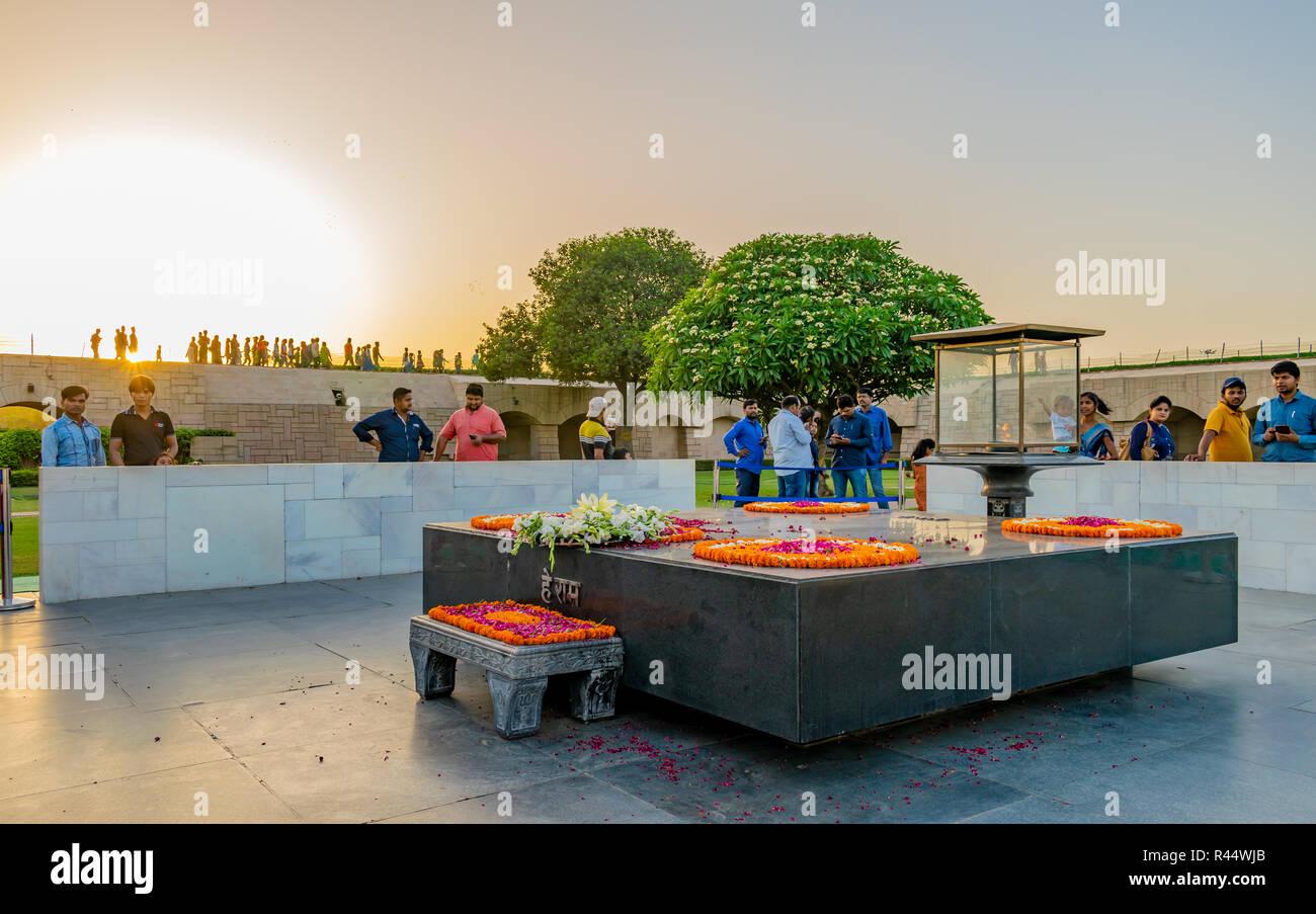 Raj Ghat- the final resting place of Gandhiji - Stock Image