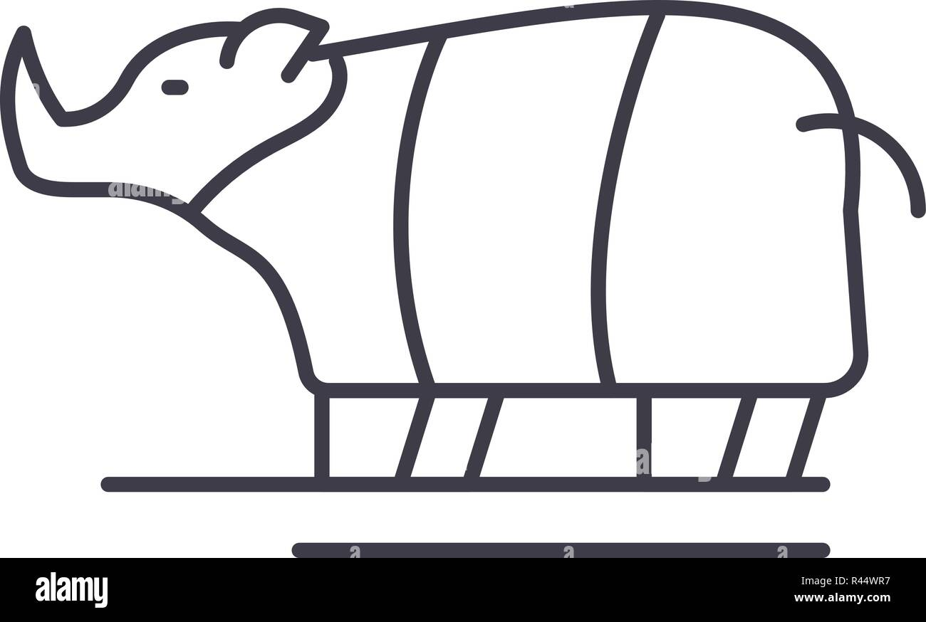 Rhinoceros line icon concept. Rhinoceros vector linear illustration, symbol, sign - Stock Image