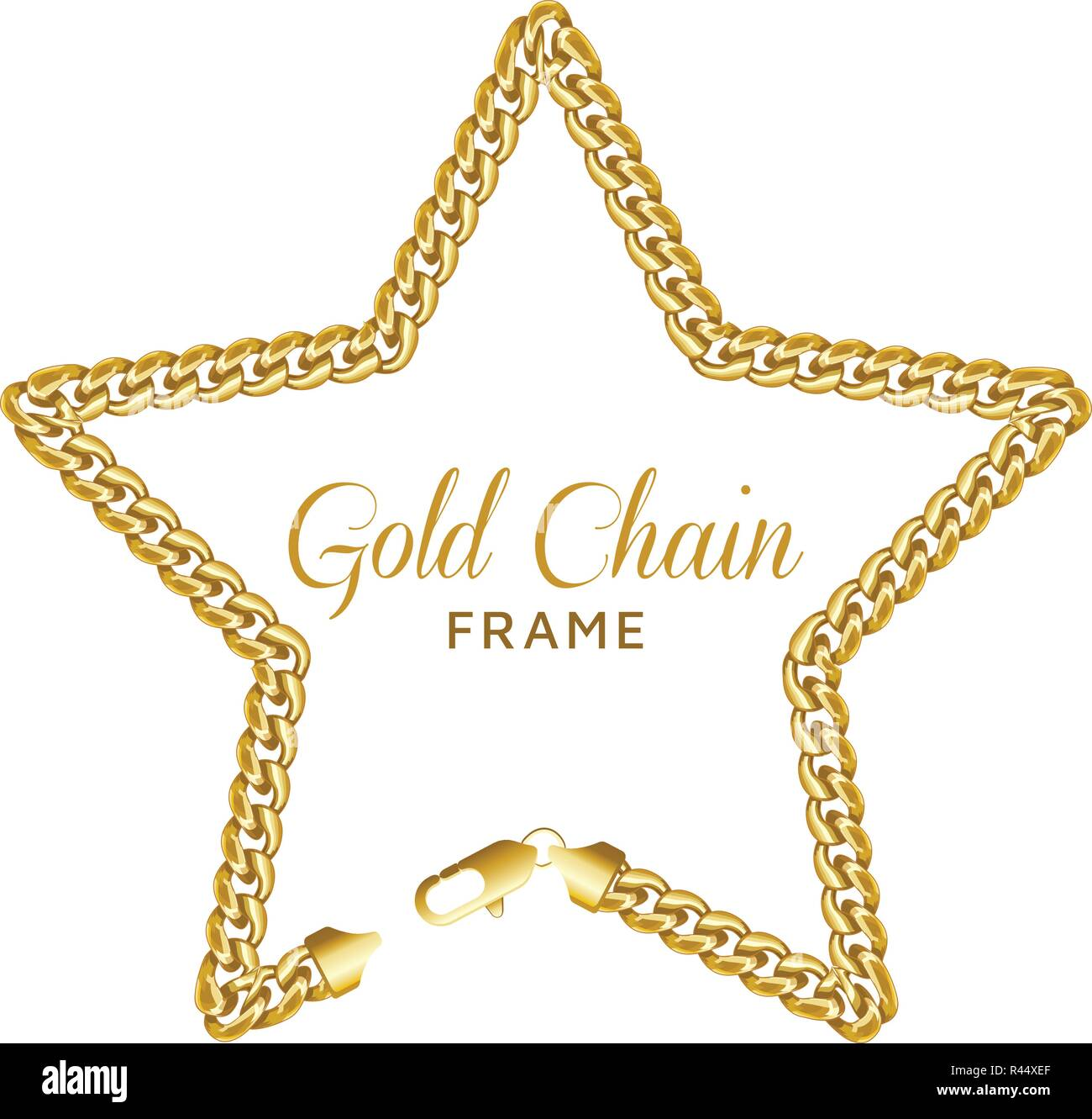 ad93d347b2fd Gold chain star border frame. Wreath starry shape with a lobster ...