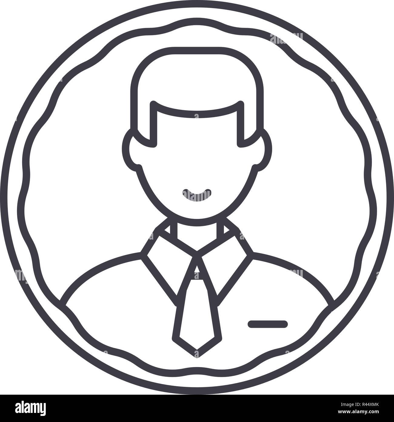 Staff profile line icon concept. Staff profile vector linear illustration, symbol, sign - Stock Image