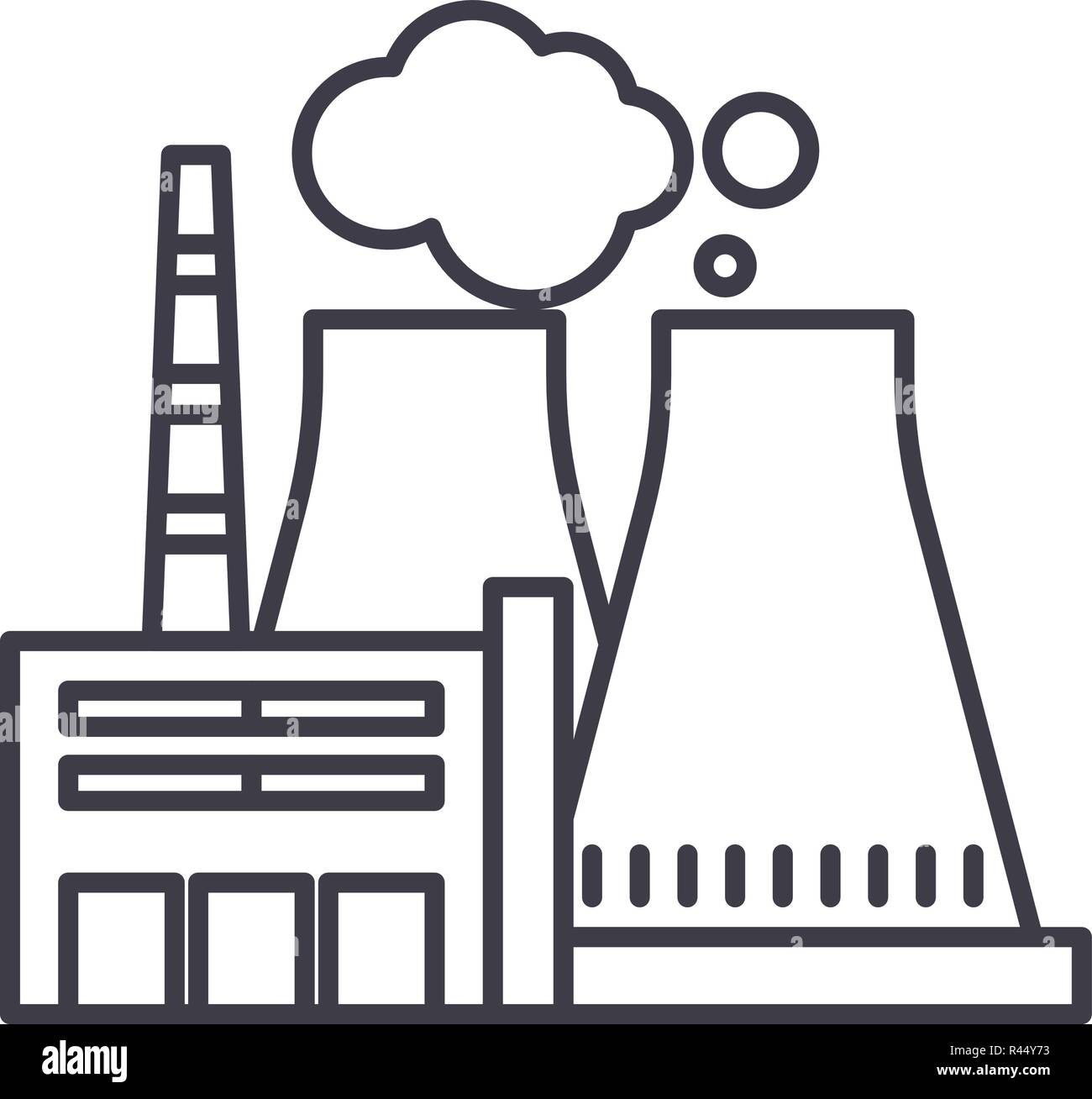 thermal power plant line icon concept thermal power plant vector Thermal Power Production thermal power plant line icon concept thermal power plant vector linear illustration, symbol, sign