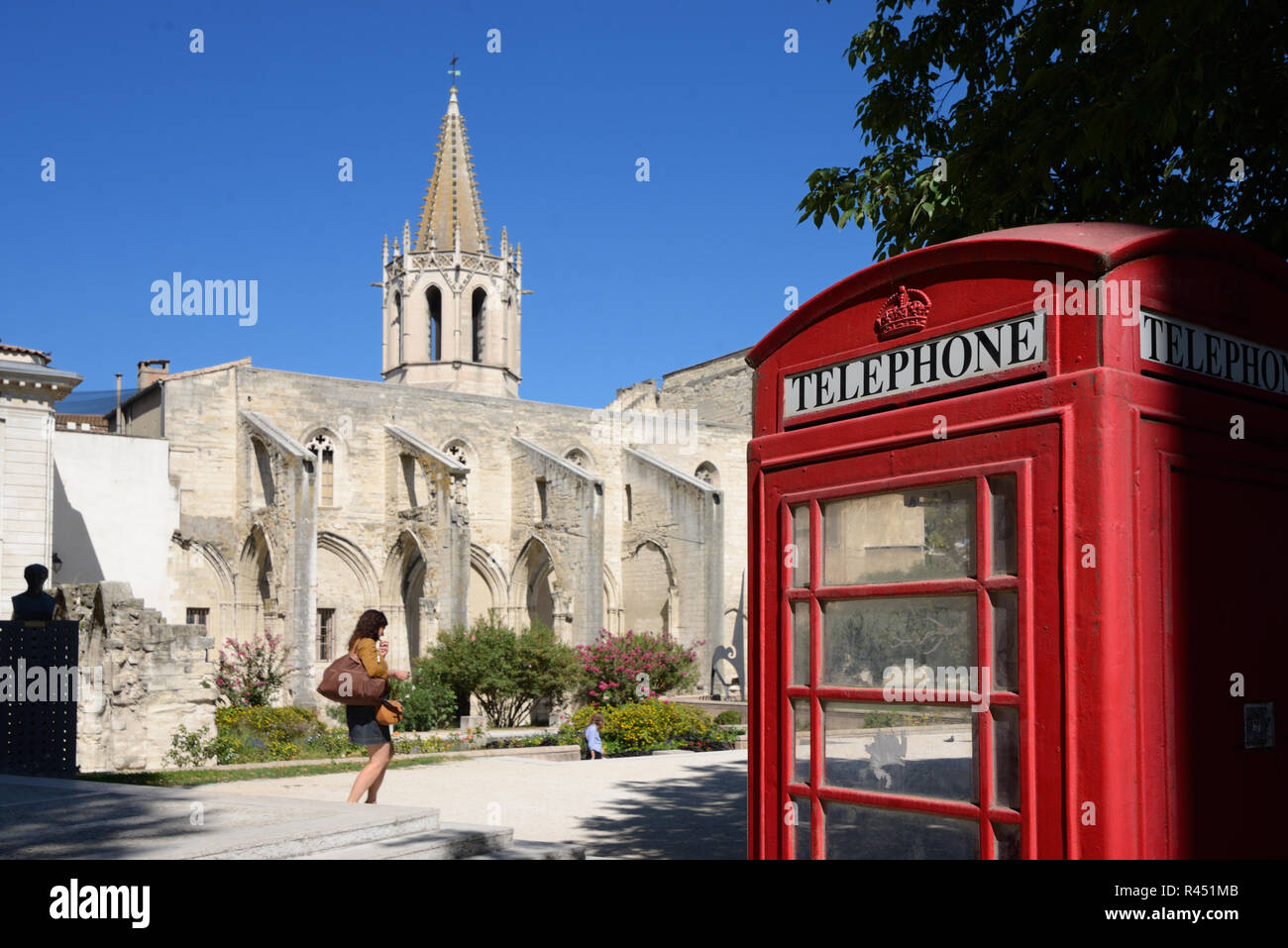 Church of Saint Martial, Park & Garden, & British Red Telephone Box on Agricol Perdiguier Square Avignon Provence France - Stock Image