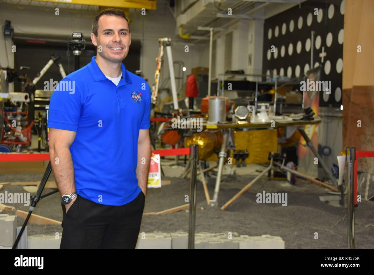 Pasadena, United States. 25th Nov, 2018. Pasadena, USA, 25 November 2018. InSight Deputy Mission Manager at NASA Jet Propulsion Laboratory, Fernando Abilleira, pose for the photographers in a laboratory in Pasadena, United States, 25 November 2018. InSight Mission will drill deeper into Mars and will install a thermal sensor to decipher his 'deep interior'. Credit: Iván Mejía Credit: EFE News Agency/Alamy Live News/EFE/Alamy Live News - Stock Image