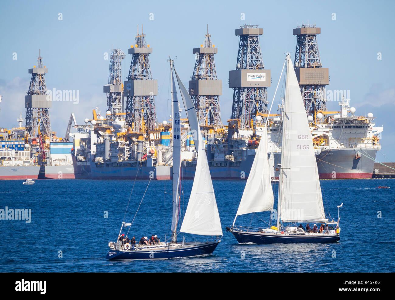 Start of the 2018 ARC (Atlantic Rally for Cruisers) transatlantic race/crossing in Las Palmas, Gran Canaria, Canary Islands, Spain. Stock Photo
