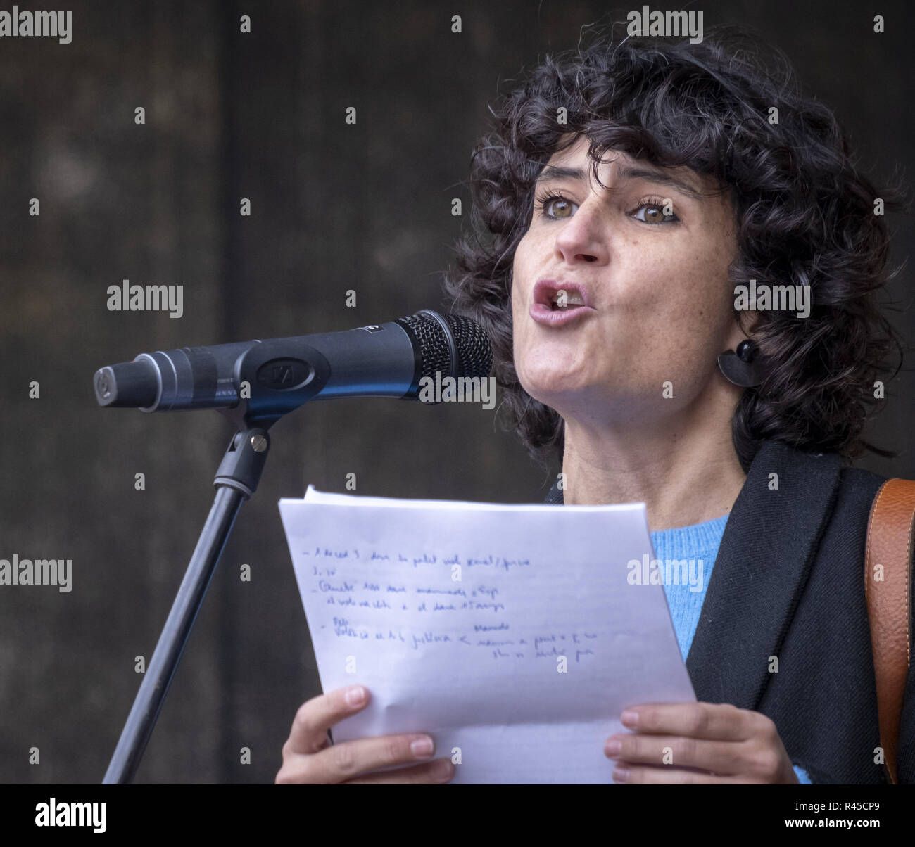 Barcelona, Catalonia, Spain. 25th Nov, 2018. Cultural journalist Júlia Bertran is seen reading the manifesto of the demonstration during the protest.Thousands of people have taken to the streets in Barcelona on the occasion of the International Day for the Elimination of Violence against Women. Credit: Paco Freire/SOPA Images/ZUMA Wire/Alamy Live News - Stock Image