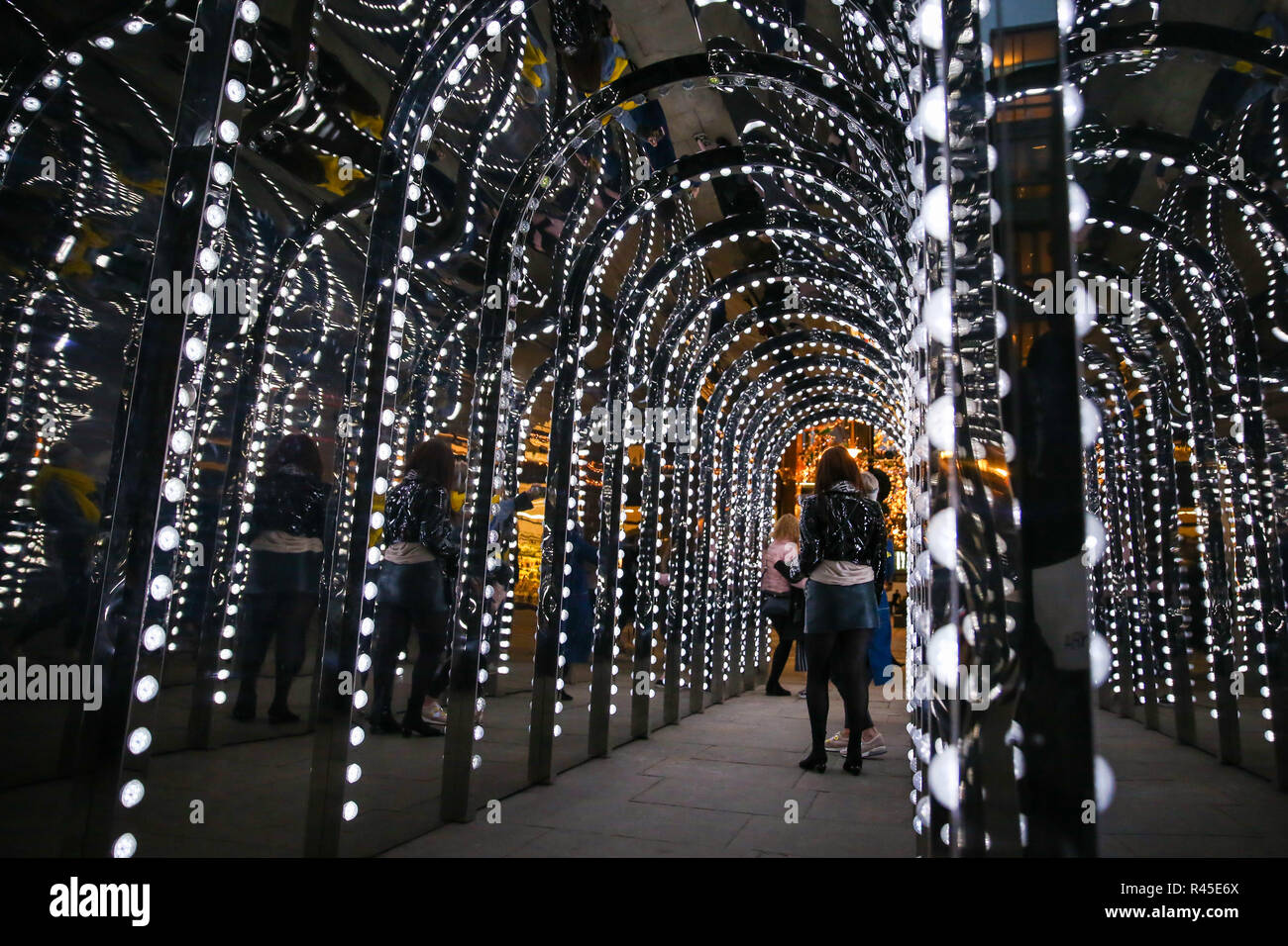 United Kingdom. 25th Nov, 2018. The passage to Conduit Court in Covent Gardens is seen covered with mirrors and lights for the festive season. Credit: Dinendra Haria/SOPA Images/ZUMA Wire/Alamy Live News Stock Photo