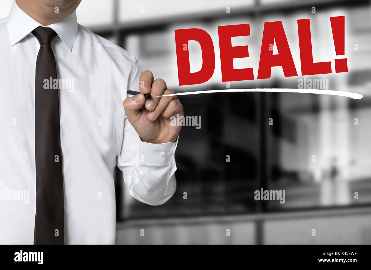 deal is written by businessman background concept - Stock Image