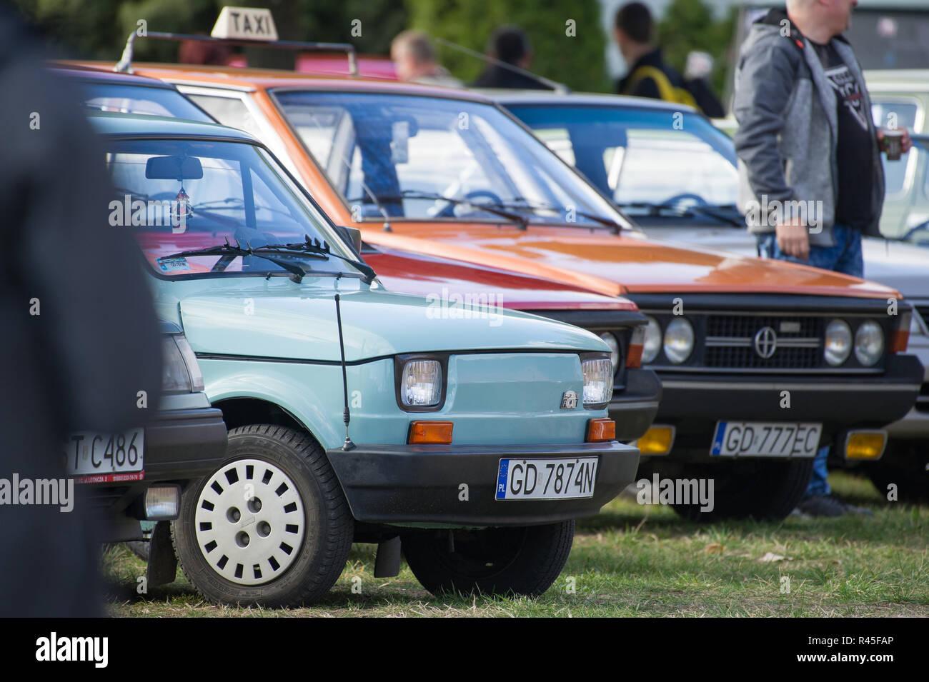 Polish automobile Polski Fiat 126p manufactured in FSM in Bielsko Biala and Tychy and FSO Polonez in Gdansk, Poland. October 21st 2018 © Wojciech Stro - Stock Image