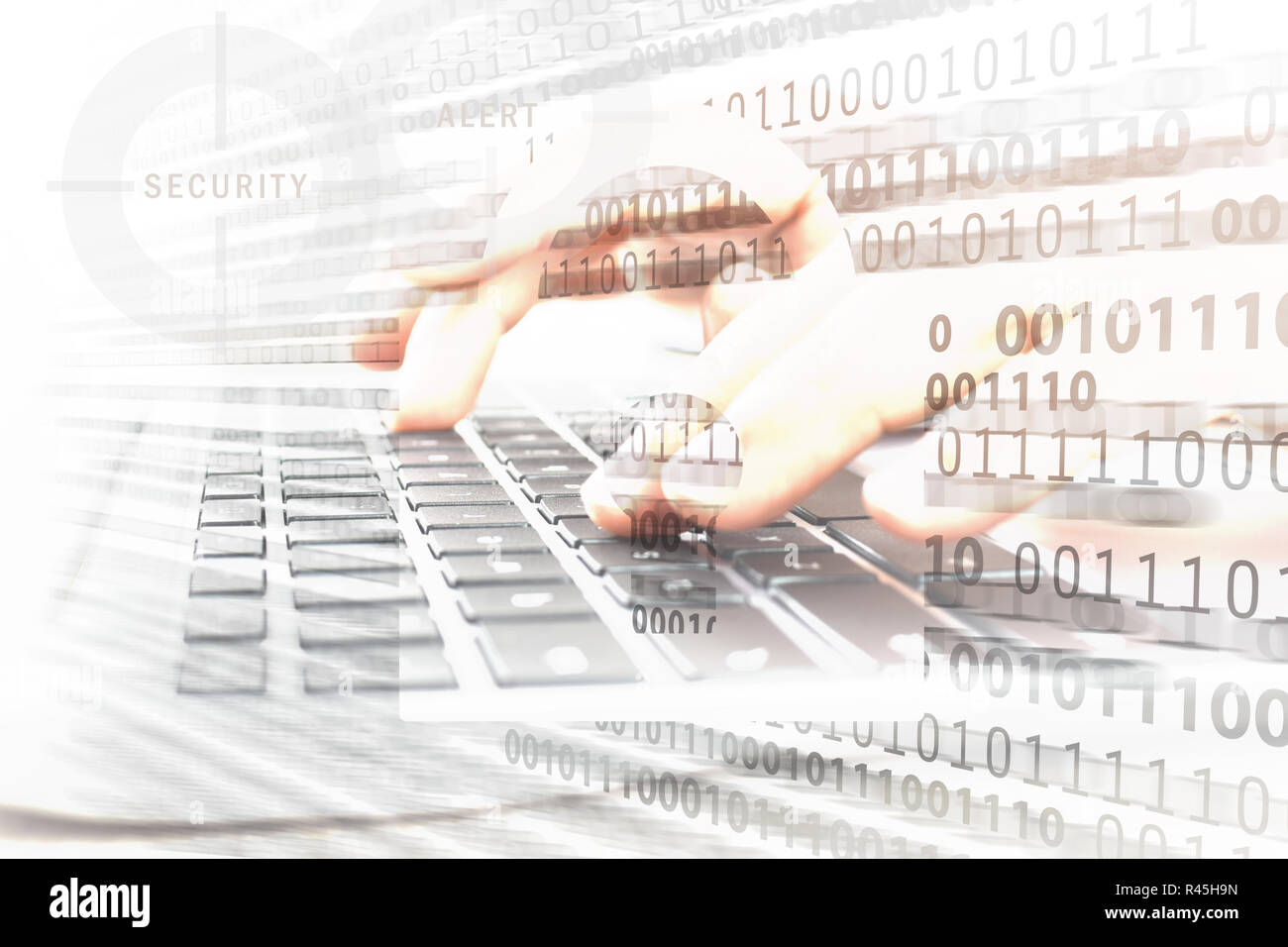 Composite image of digital security and cryptology system - closed padlock on the background of working programmer and network binary hologram - Stock Image