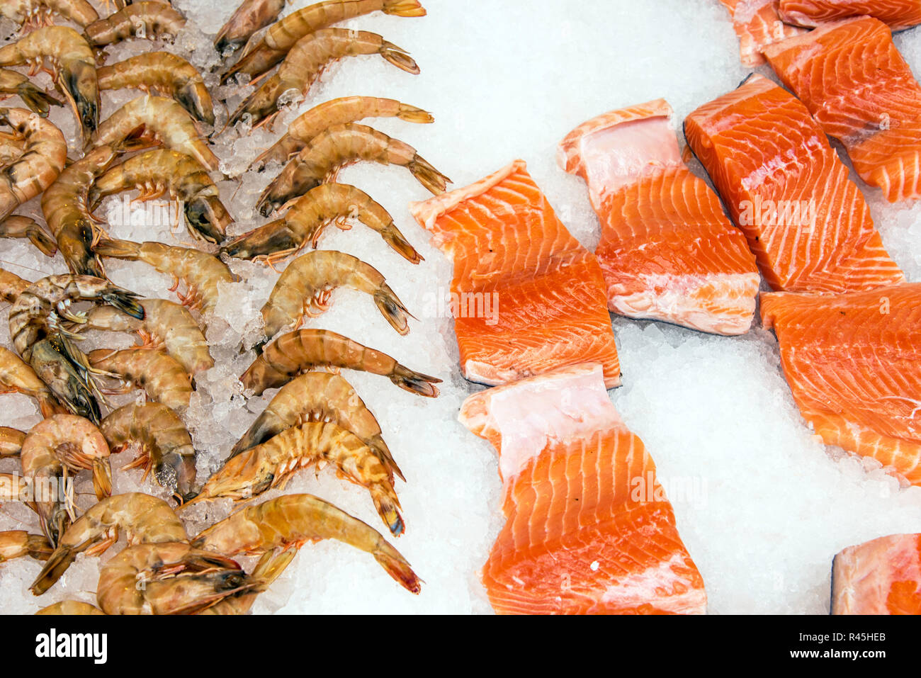 salmon and shrimps at a market in istanbul - Stock Image