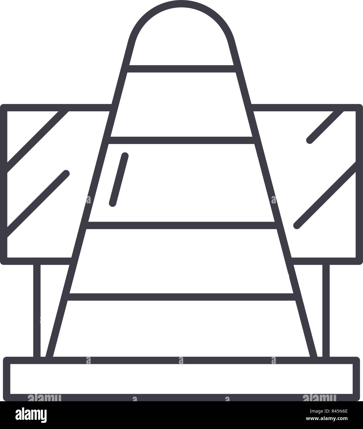 Work in progress line icon concept. Work in progress vector linear illustration, symbol, sign - Stock Vector