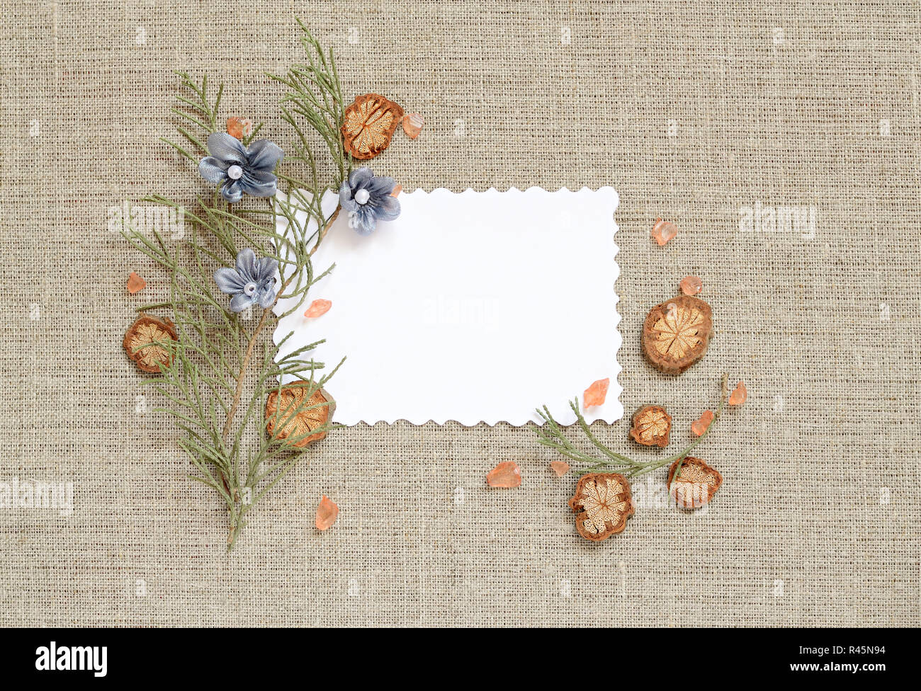 Canvas background with frame for text or photo Stock Photo