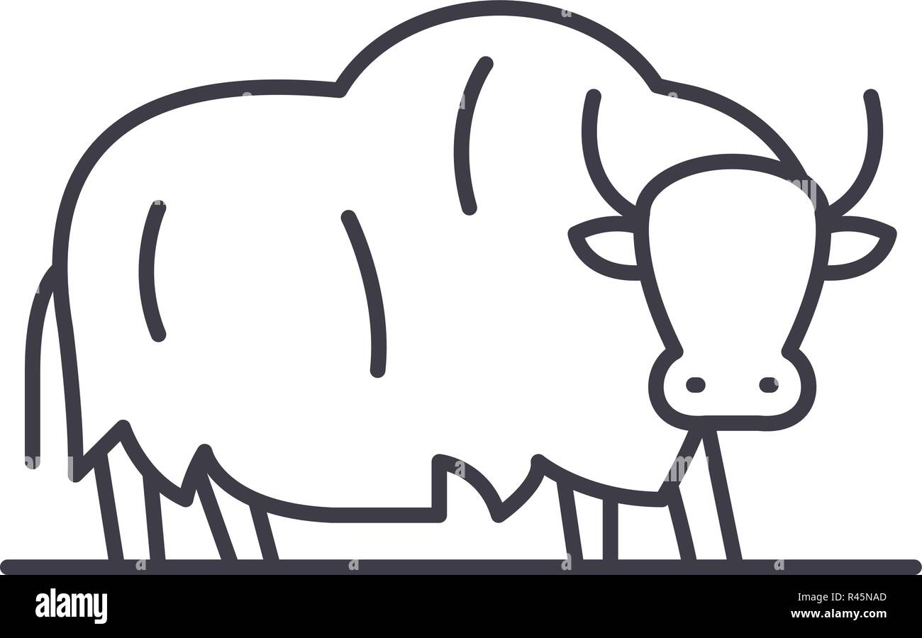 Yak line icon concept. Yak vector linear illustration, symbol, sign - Stock Image