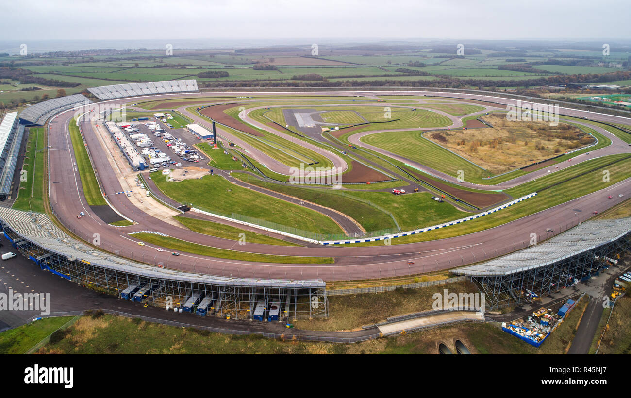 Rockingham Motor Speedway in Northamptonshire, famous for having Europes fastest banked oval race circuit, holding its last raceday on Saturday before its closes.  An oval motor racing track that sought to 'break the mould' has hosted competitive racing for the last time.  Rockingham Motor Speedway in Corby, Northamptonshire, opened in 2001 and once hosted the British Touring Cars Championship (BTCC) and British GT. But the venue, which can host 52,000 fans and cost £45m to build, has stopped hosting racing to become a 'logistics hub' for the car industry in 2019. - Stock Image