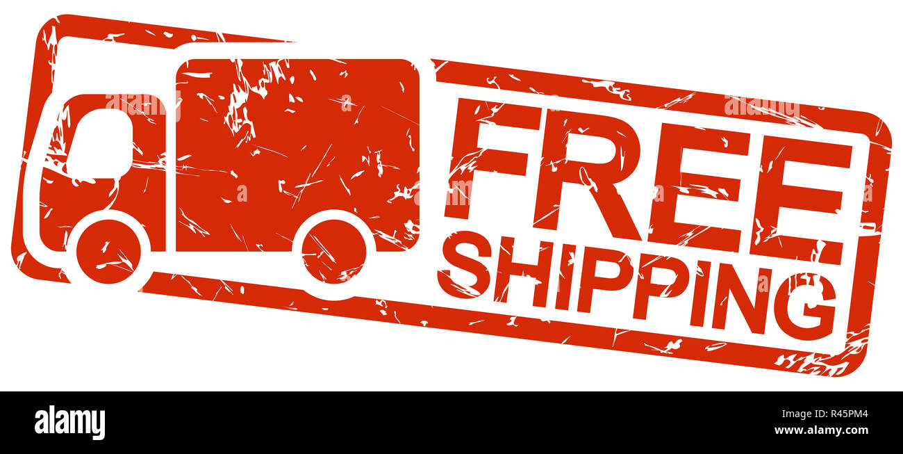 red stamp with text free shipping Stock Photo