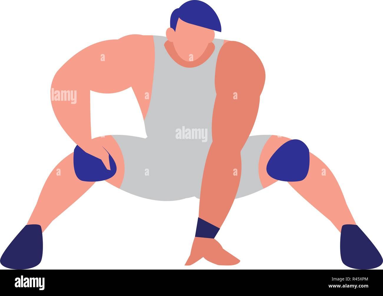 avatar wreslter man icon over white background, vector illustration - Stock Image
