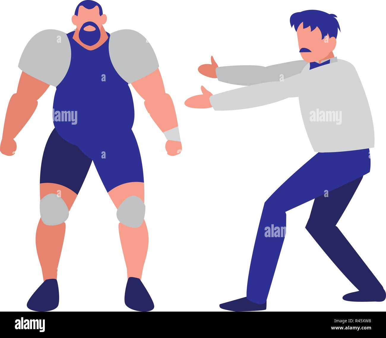 wrestler and referee over white background, colorful design. vector illustration - Stock Image