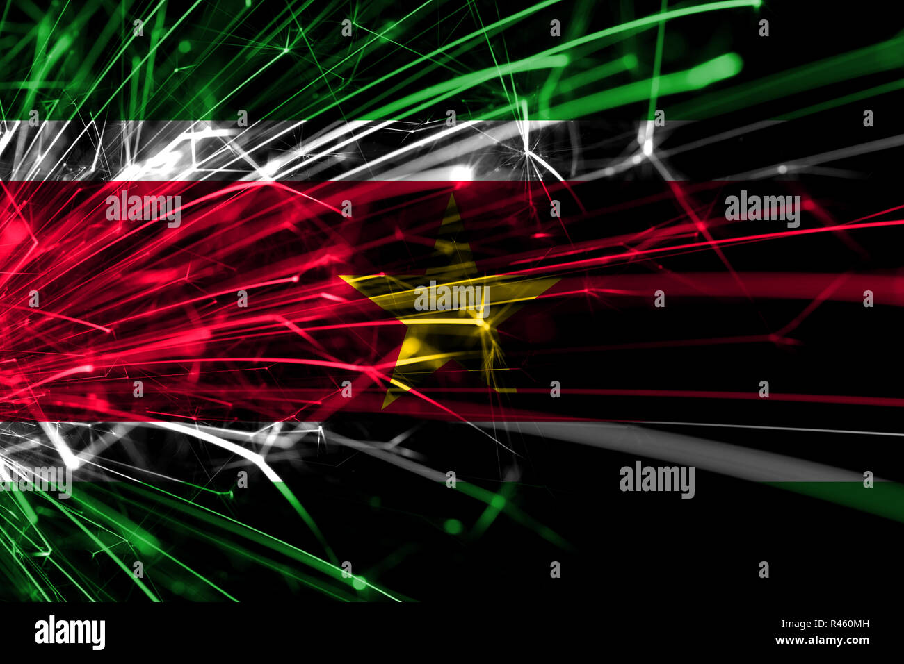 Suriname abstract fireworks sparkling flag. New Year, Christmas and National day concept - Stock Image