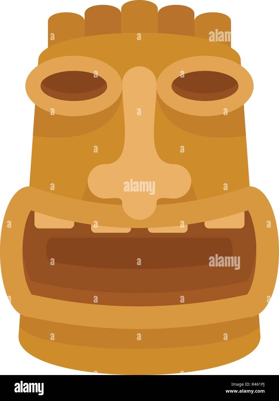 Tiki wood idol icon. Flat illustration of tiki wood idol vector icon for web isolated on white - Stock Vector