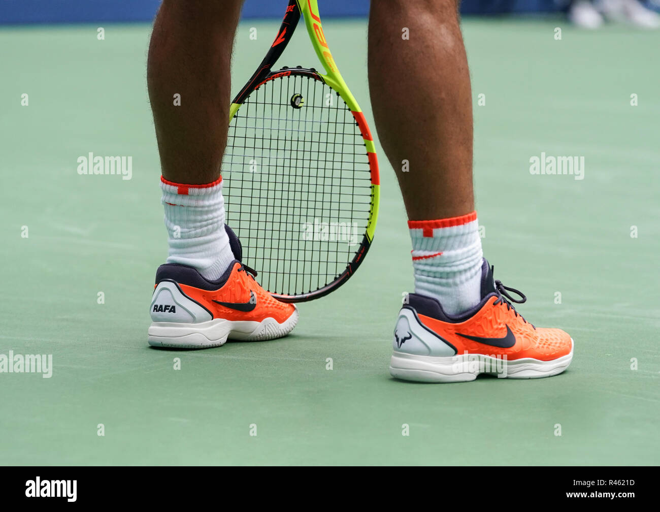 timeless design 18051 a364c New York, NY - September 2, 2018 Sneakers by Nike on Rafael Nadal of Spain  during US Open 2018 4th round match against Nikoloz Basilashvili of Geprgia  at ...