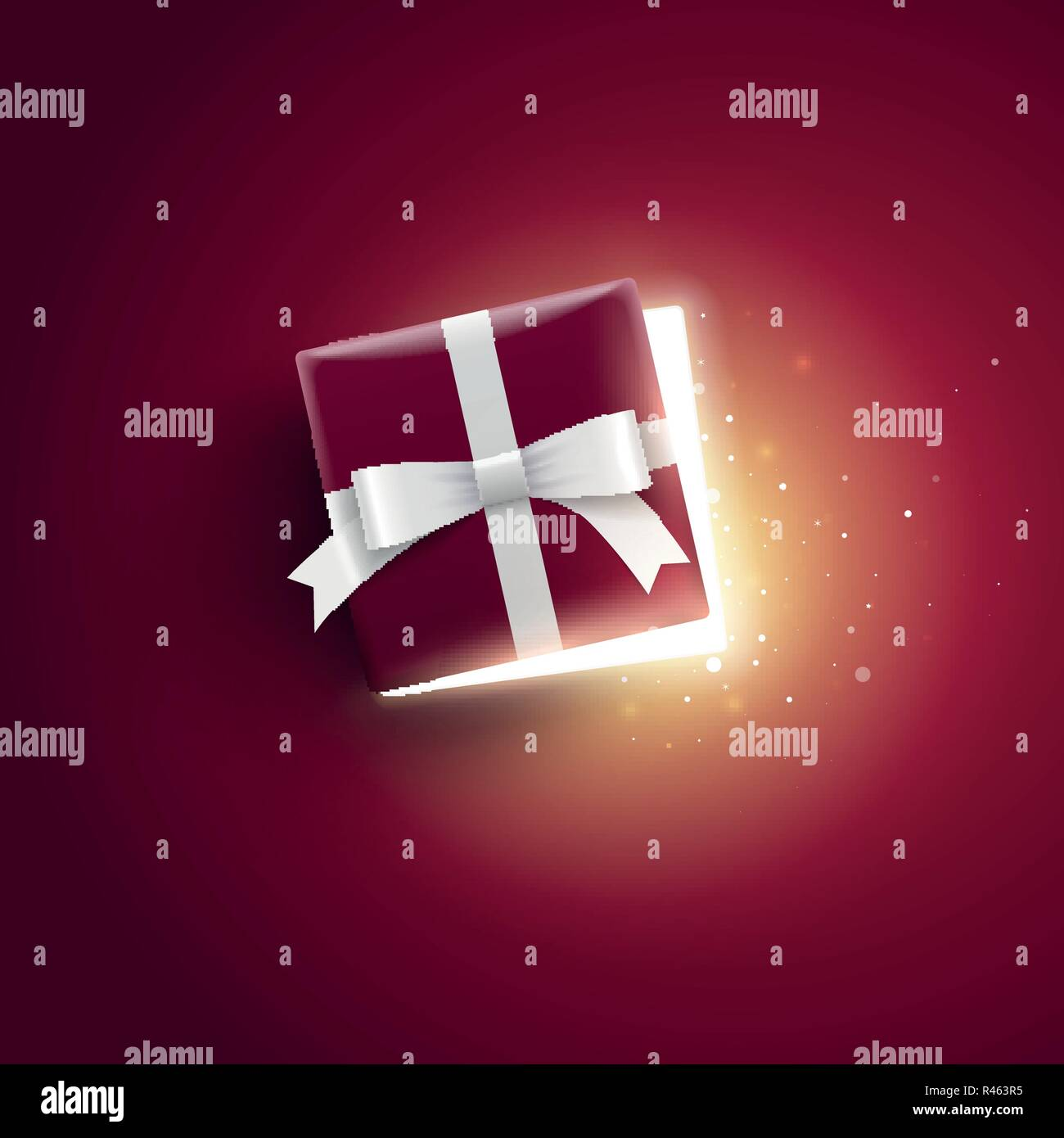 Half open gift box with magical lights. Top view. - Stock Vector